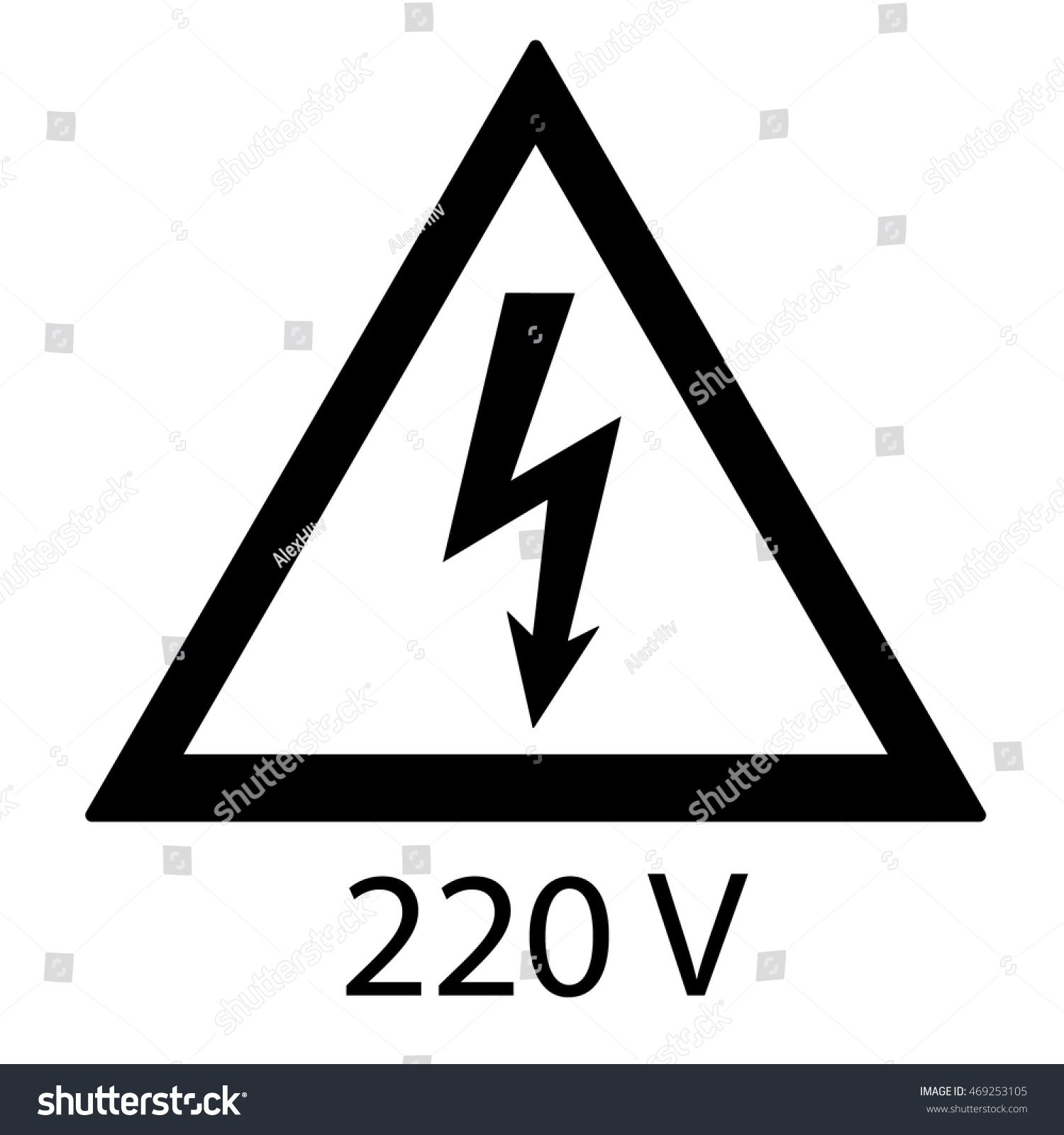 High Voltage Sign 220 Volt Danger Stock Vector 469253105 - Shutterstock
