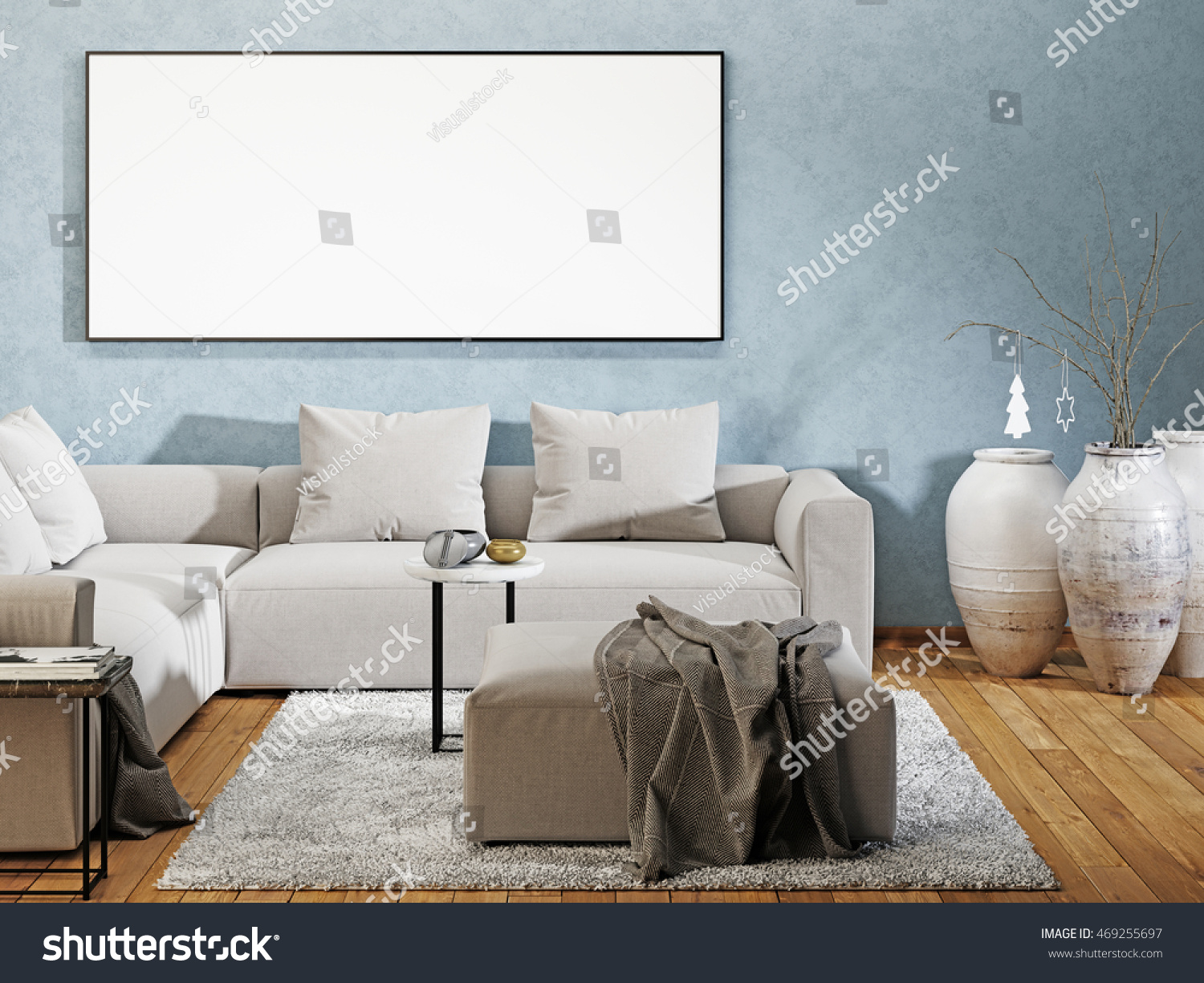 Mockup poster blank modern interior sofa stock illustration