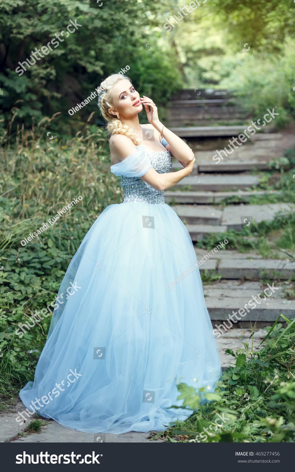 Beautiful Blonde Girl Wears Long Blue Stock Photo (Royalty Free ...