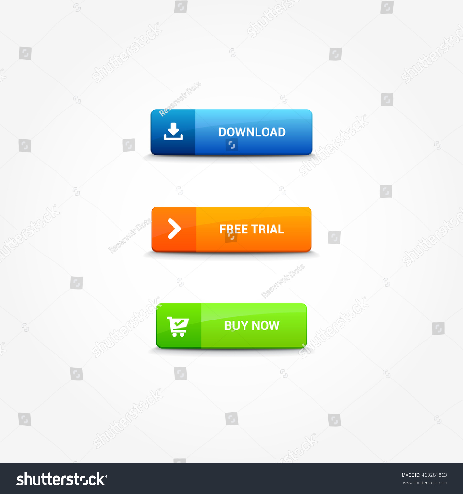 Download free trial buy now buttons stock vector (royalty free.