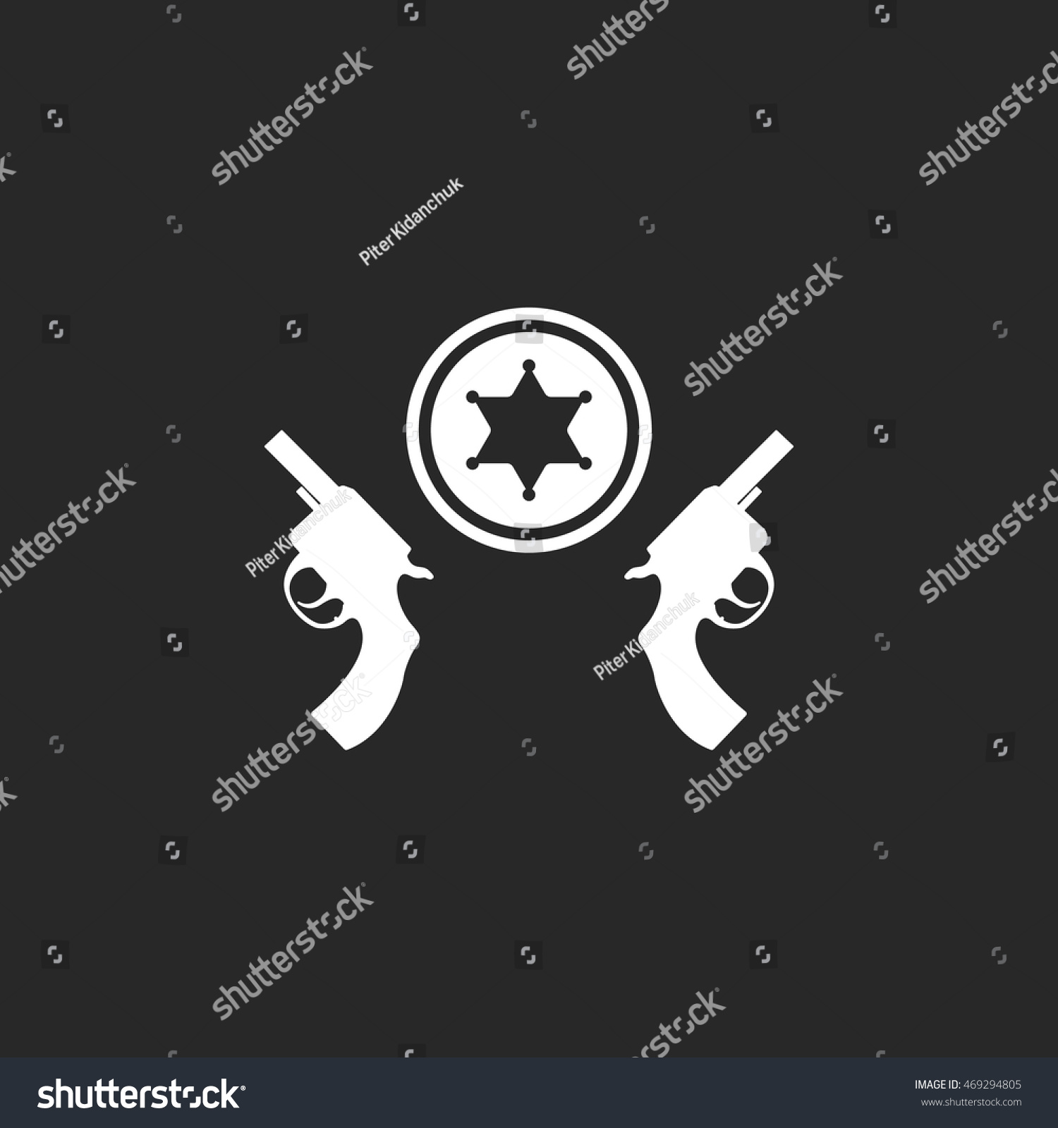 Revolver pistol guns sheriff star symbol stock vector 469294805 revolver pistol guns and sheriff star symbol sign simple icon on background buycottarizona