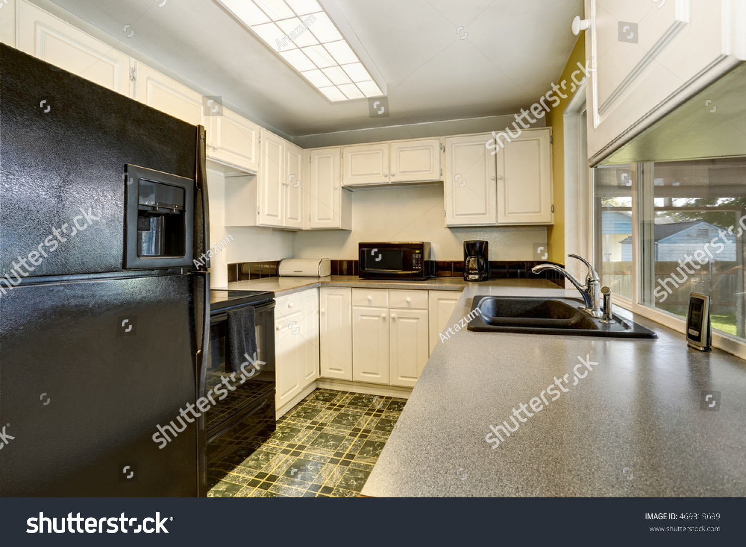 Classic American Kitchen Romm Interior With White Wooden Cabinets. Northwest,  USA