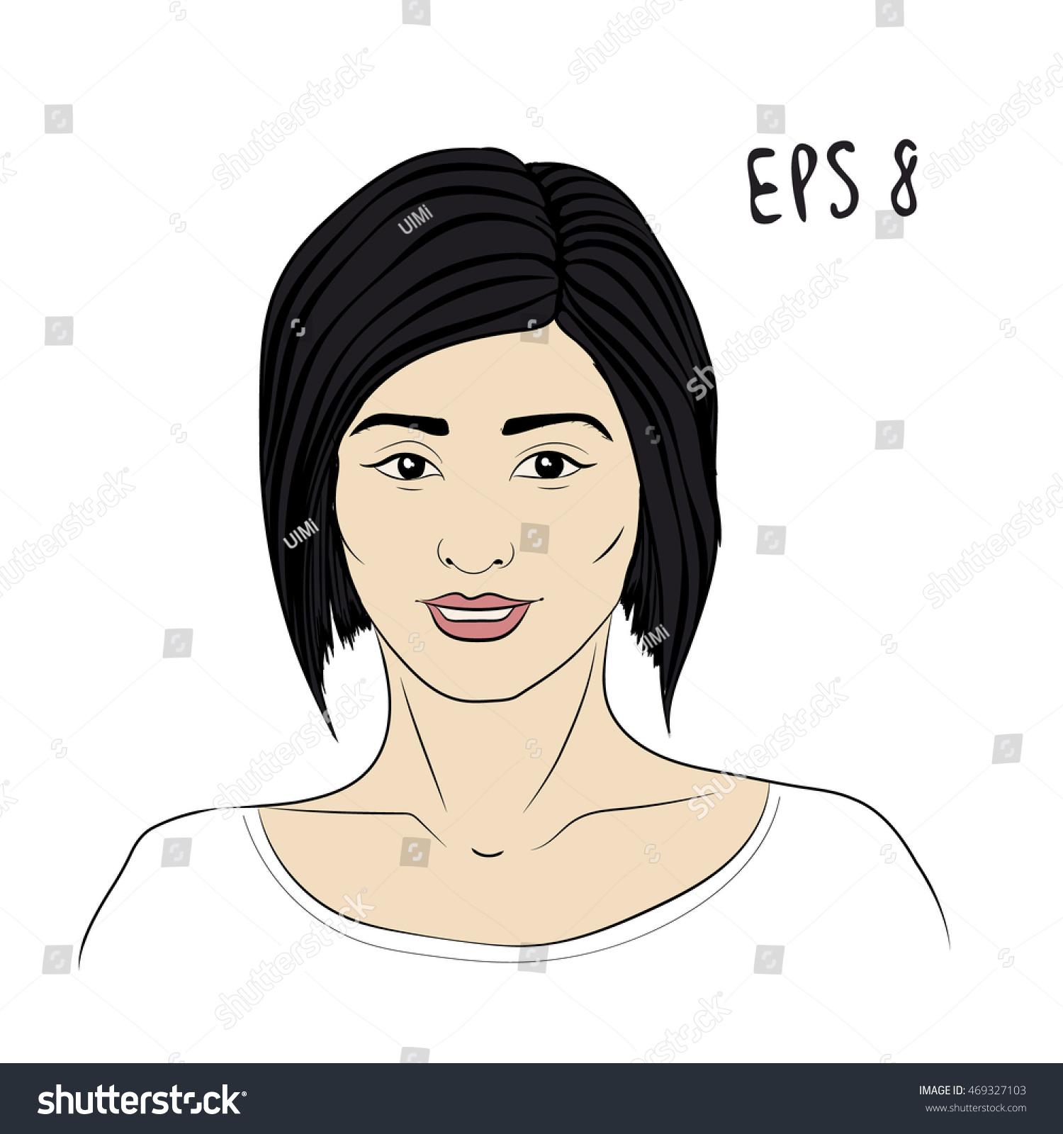 Smiling Asian Woman Bob Haircut Natural Stock Vector Royalty Free