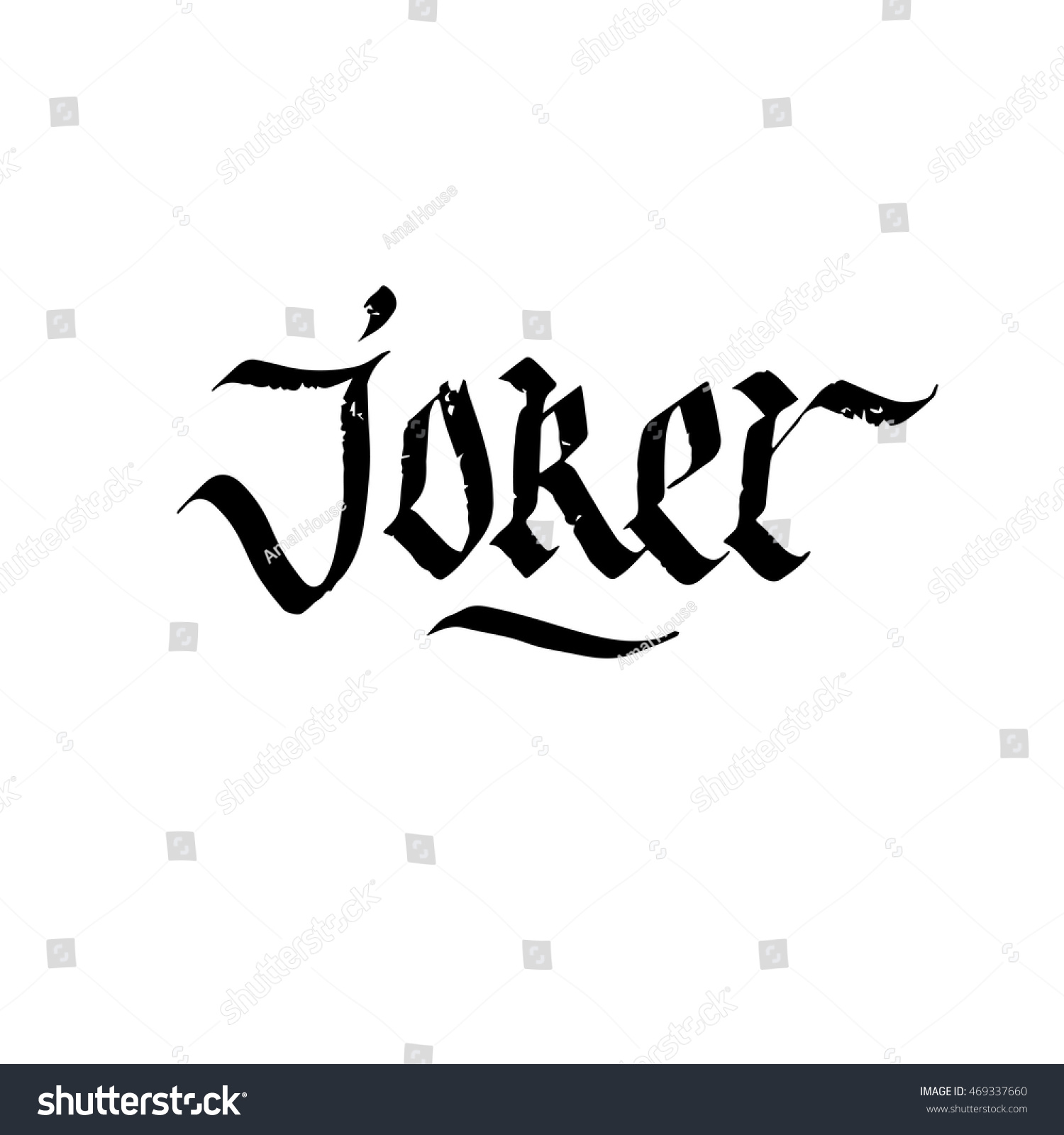 Joker sign ink hand lettering modern stock vector Calligraphy and sign