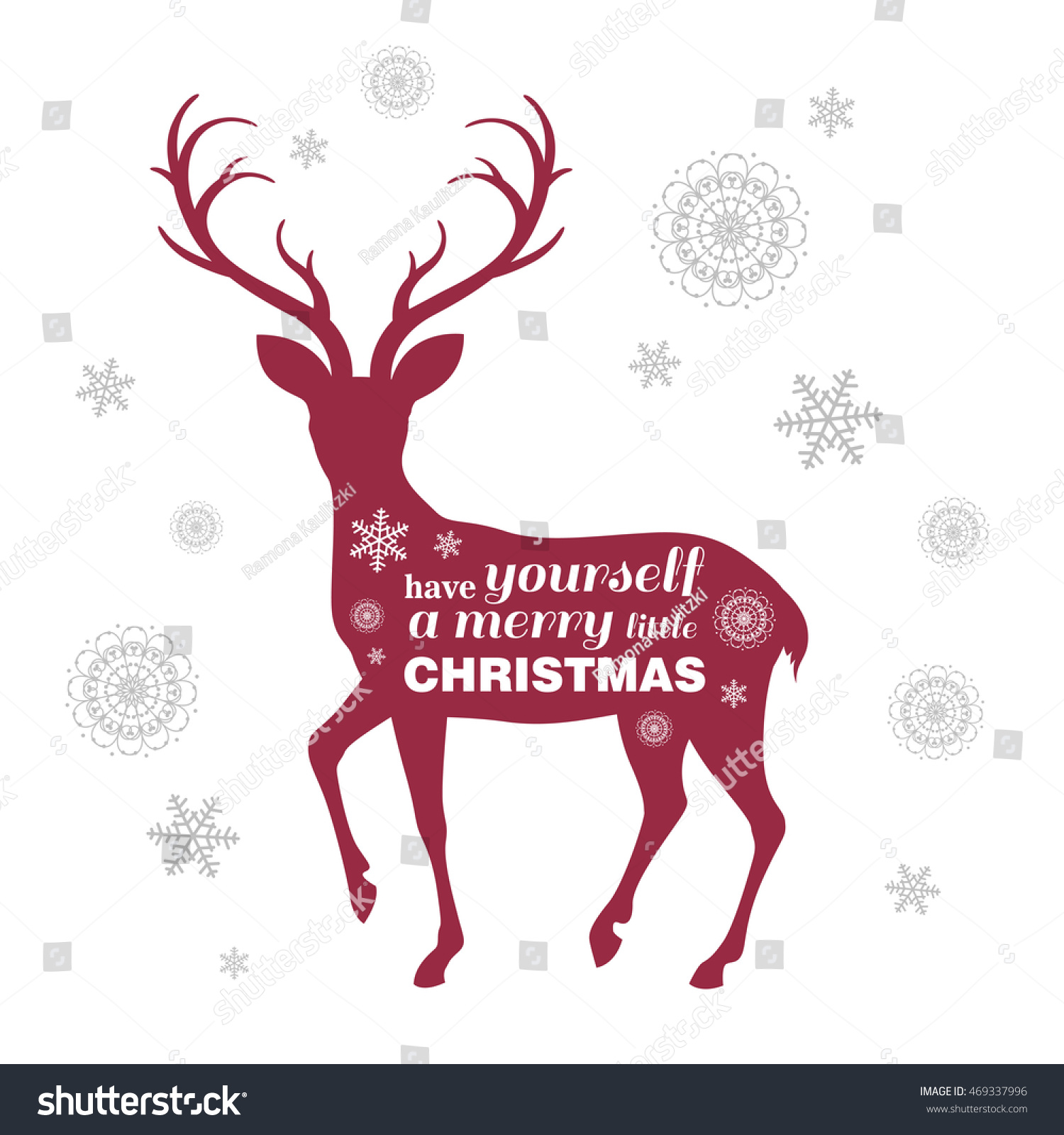 Vector Illustration Christmas Greeting Card Reindeer Stock ...