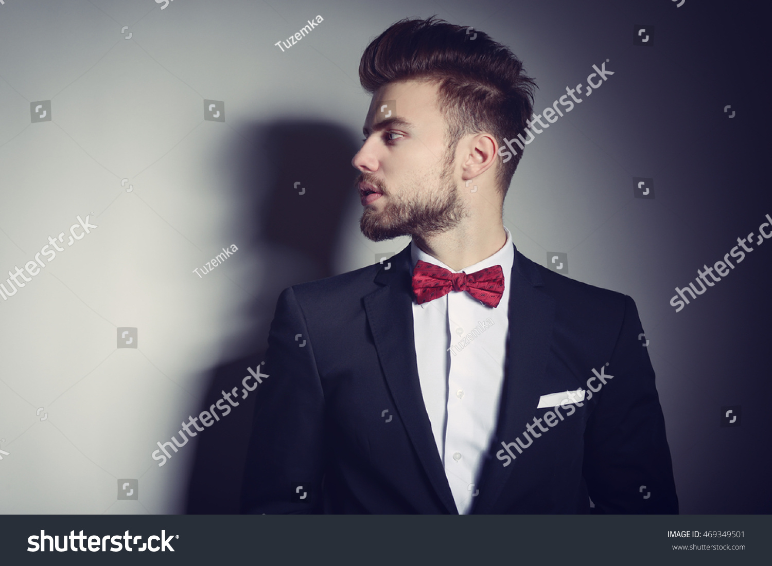 Portrait Handsome Stylish Man Elegant Black Stock Photo 469349501 ...