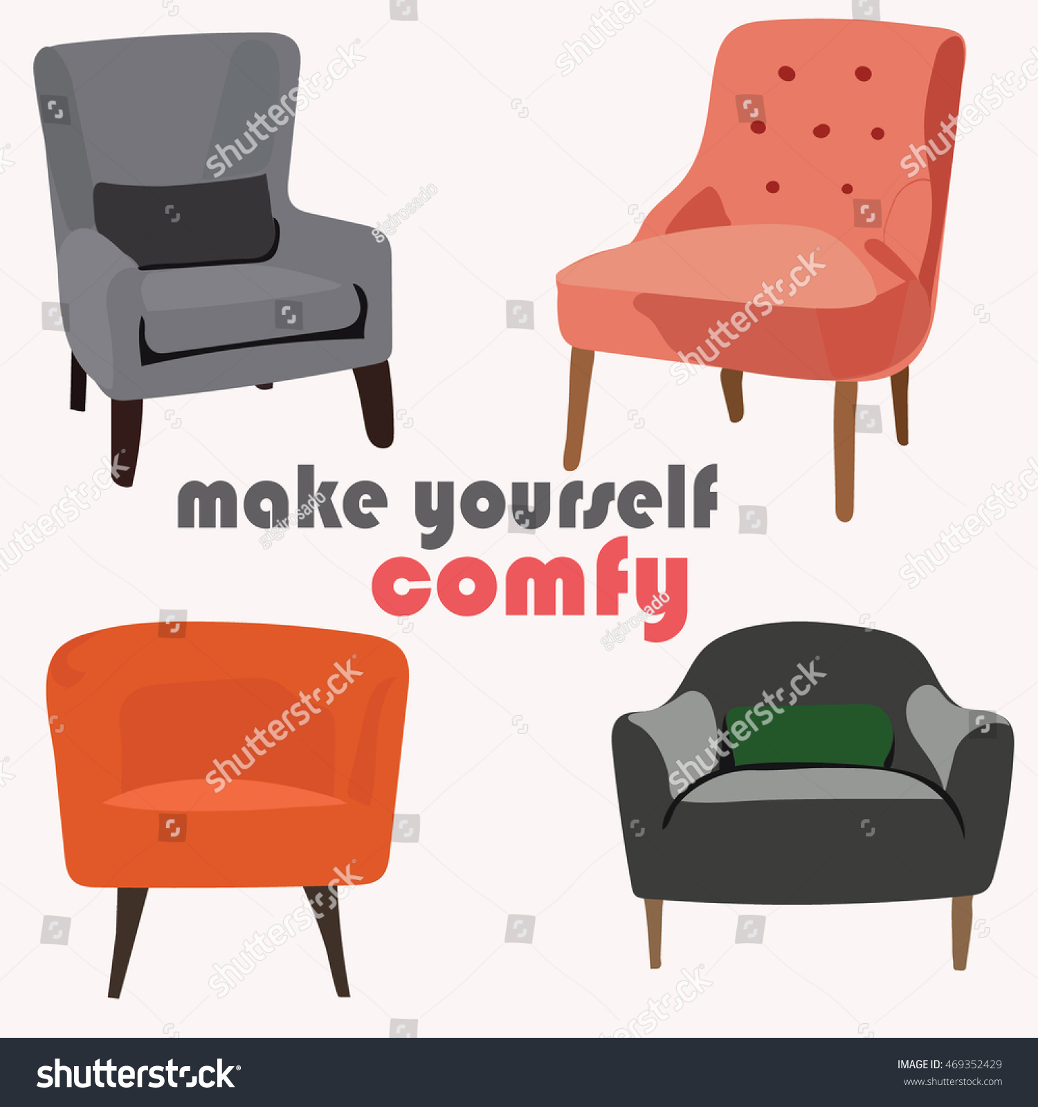 Comfy Armchairs Collection Set Vector Mid Stock Vector Royalty