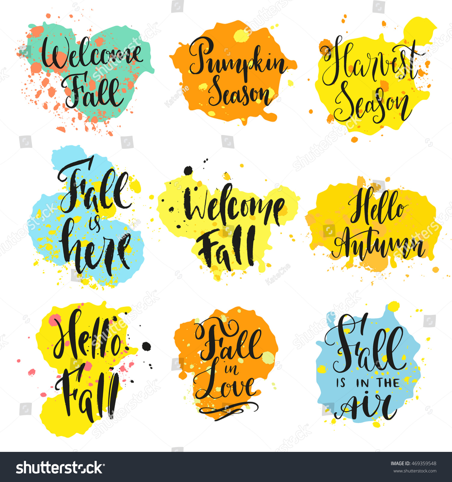 Fall Theme Sayings Modern Calligraphy Style Stock Vector Royalty