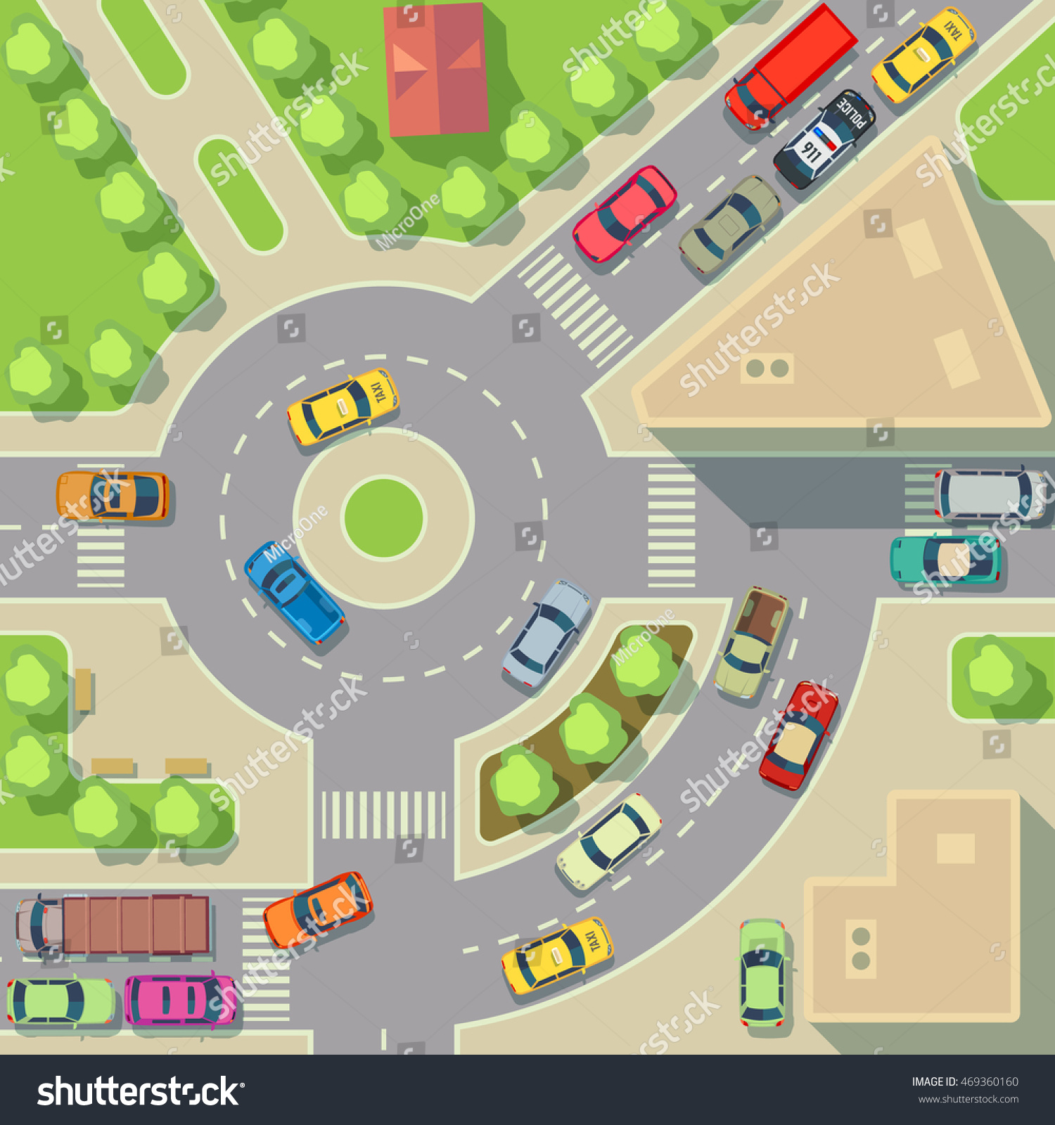 City Map Top View Cars Houses Stock Vector (Royalty Free