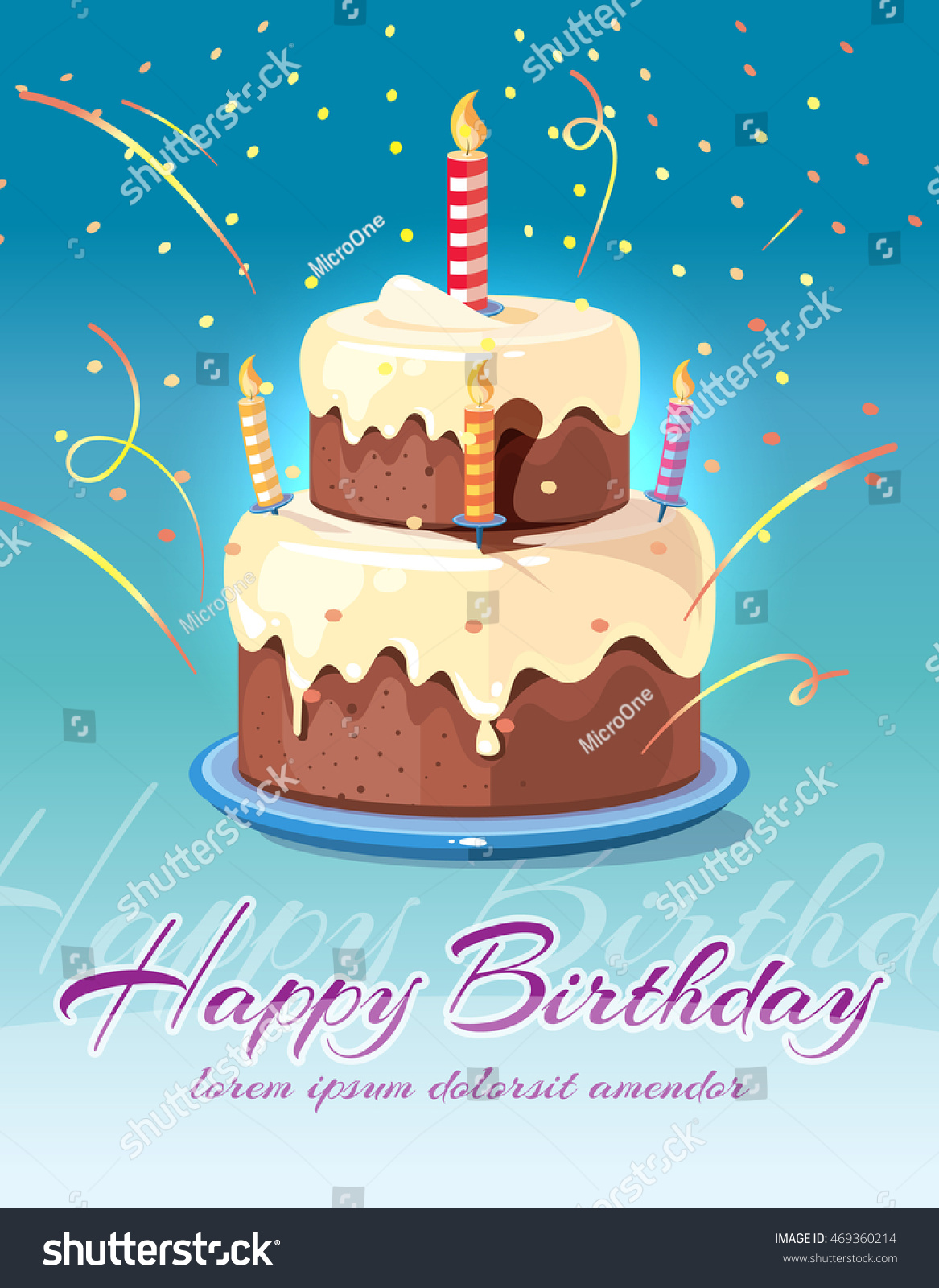 Happy Birthday Background Tasty Cake Candles Stock Vector Hd