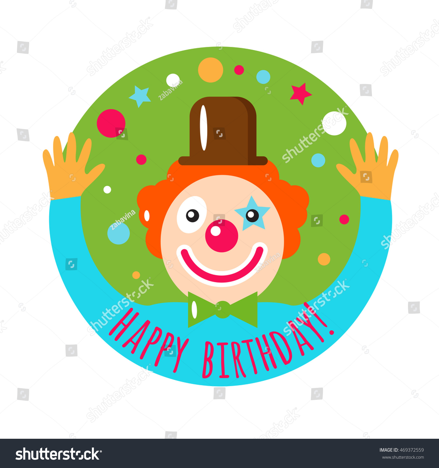 Vector Flat Holiday Background Clown Smile Vector 469372559 – Clown Birthday Cards