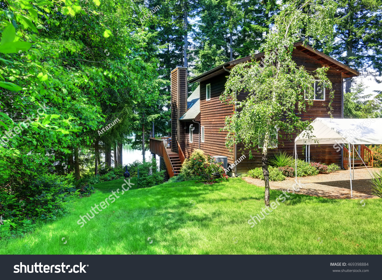 Backyard House Exterior Wooden Trim Small Stock Photo