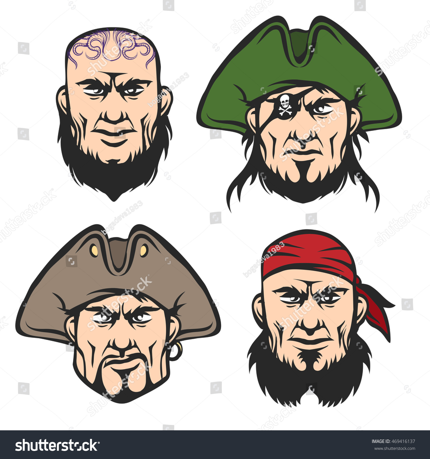 Uncategorized Pirate Faces pirate mascot faces set cartoon one stock illustration 469416137 eyed captain boatswain cannon man and ship