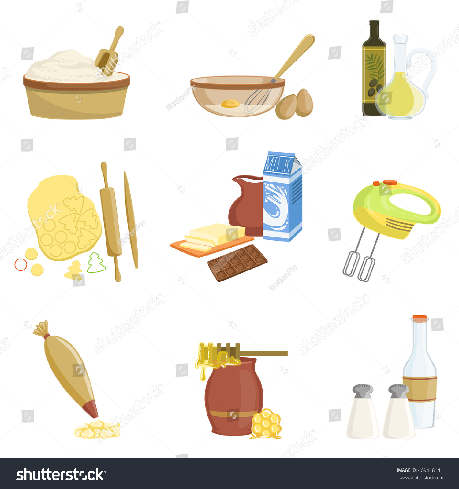 Baking Process Kitchen Equipment Set Isolated Stock Vector