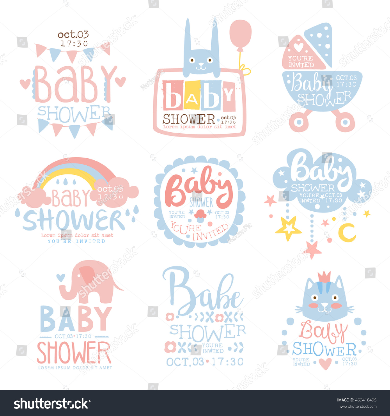 Baby Shower Invitation Template Pastel Colors Stock Vector 469418495 ...