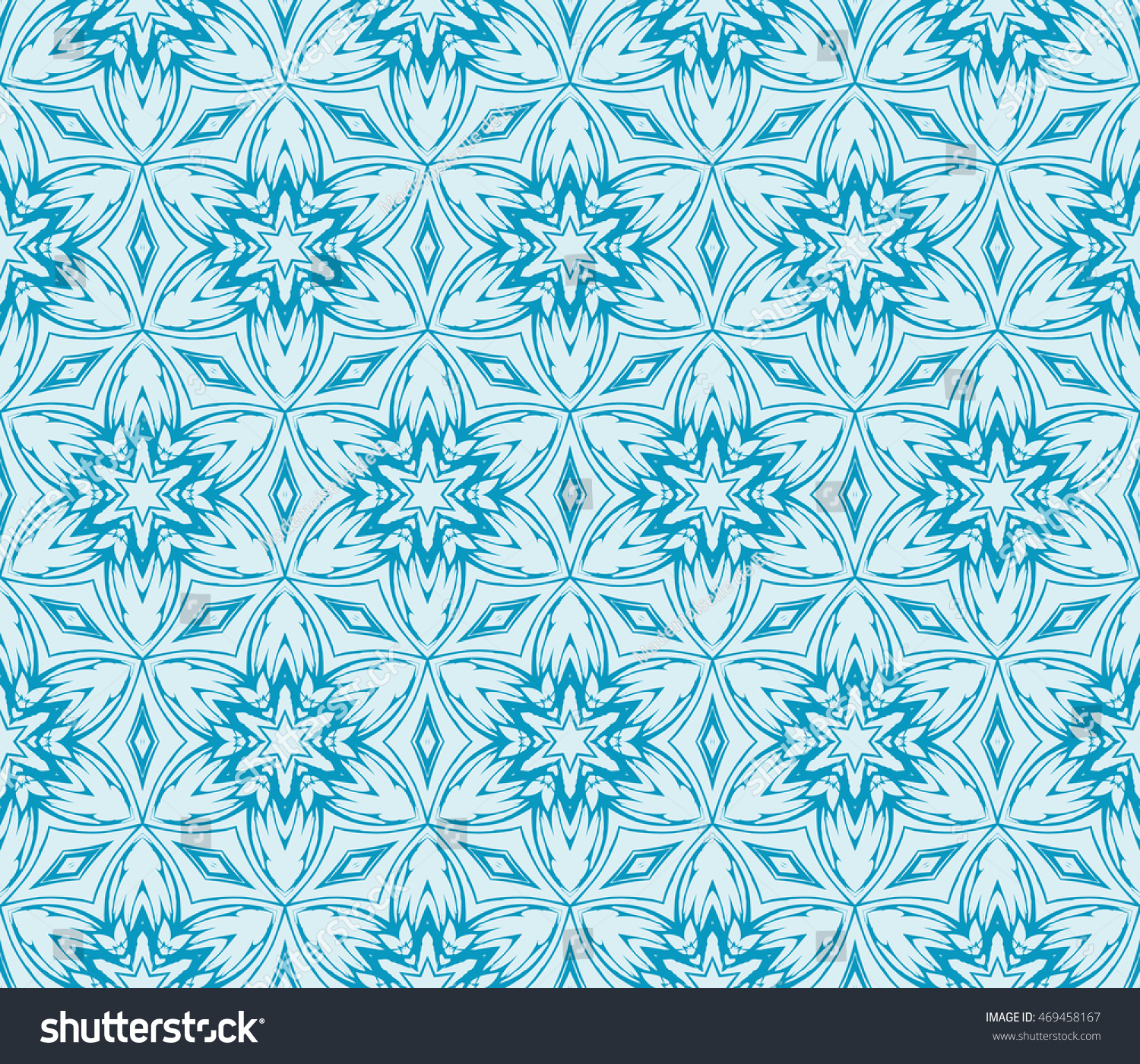 Abstract Flowers Blue Seamless Vector Illustration To Design