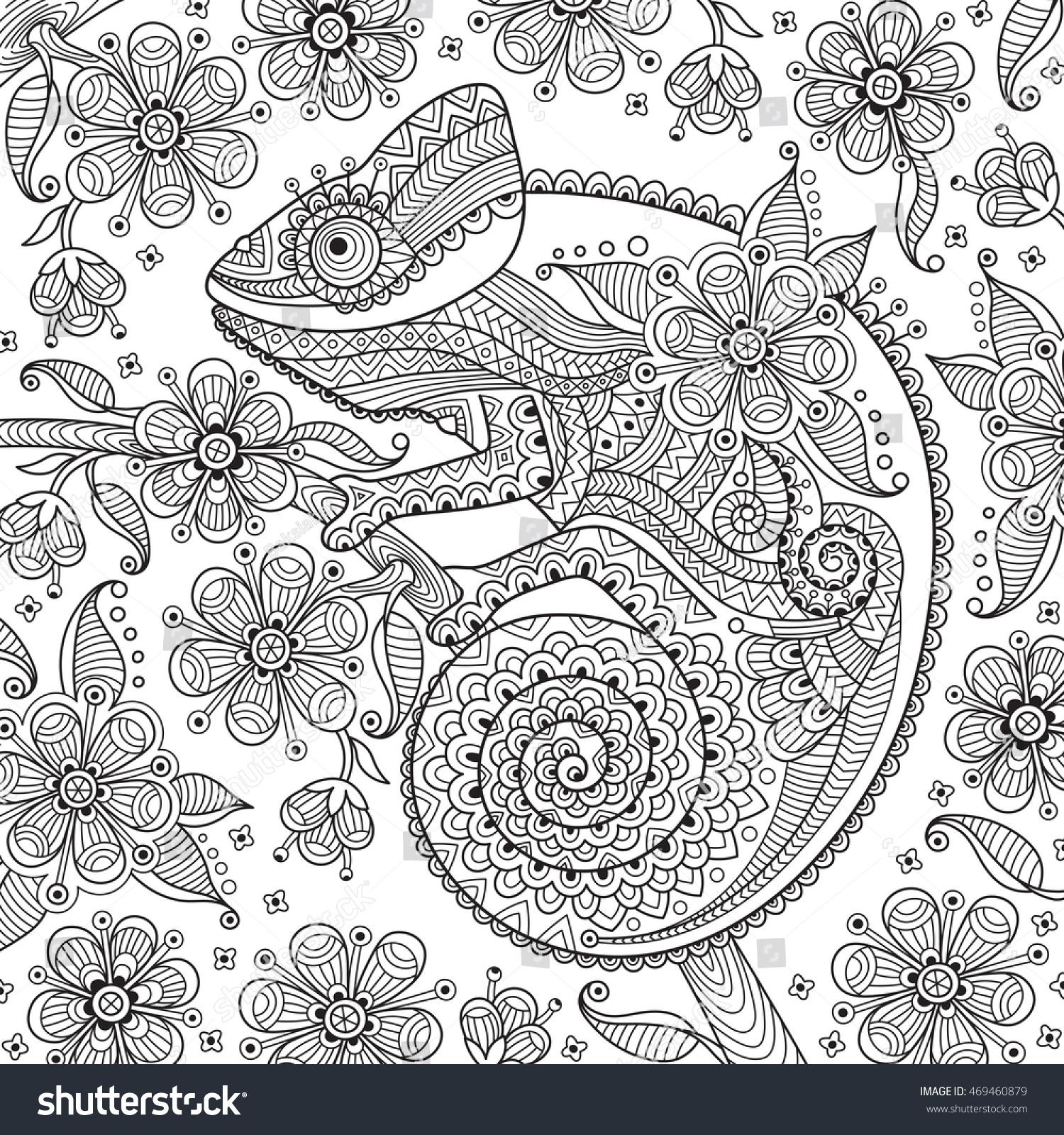 black white vector illustration chameleon ethnic stock vector
