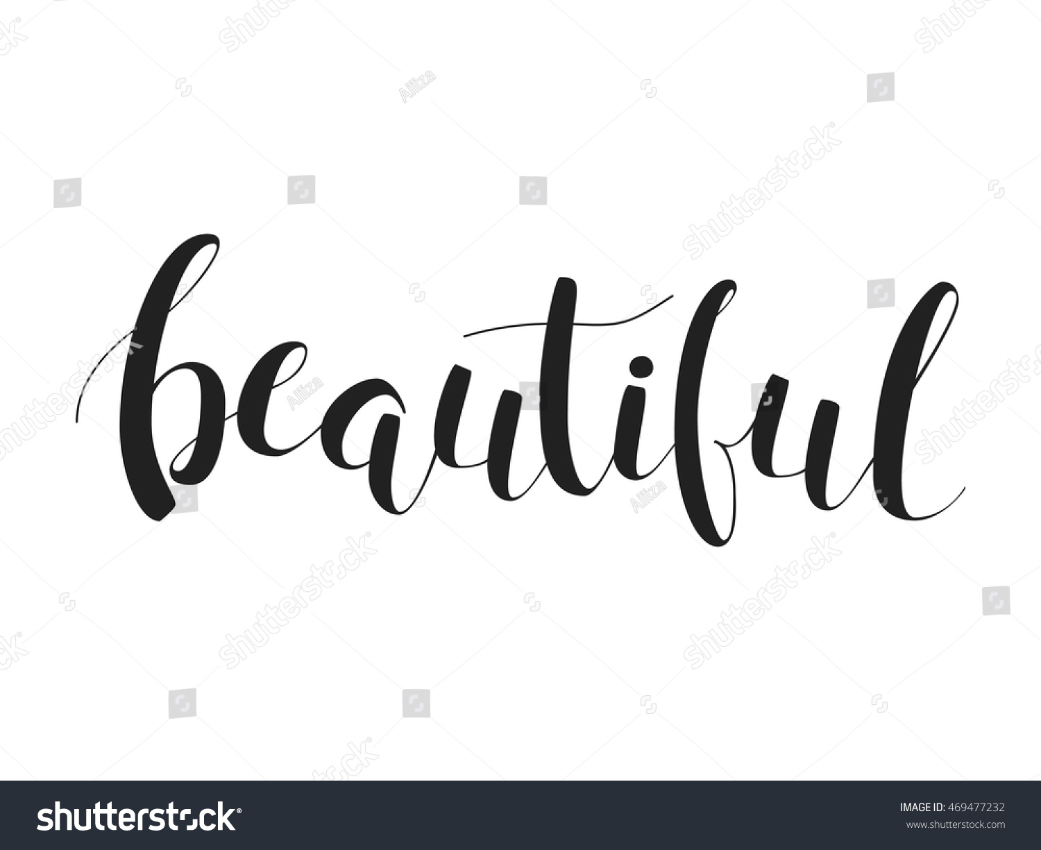 Modern calligraphy lettering word beautiful isolated stock