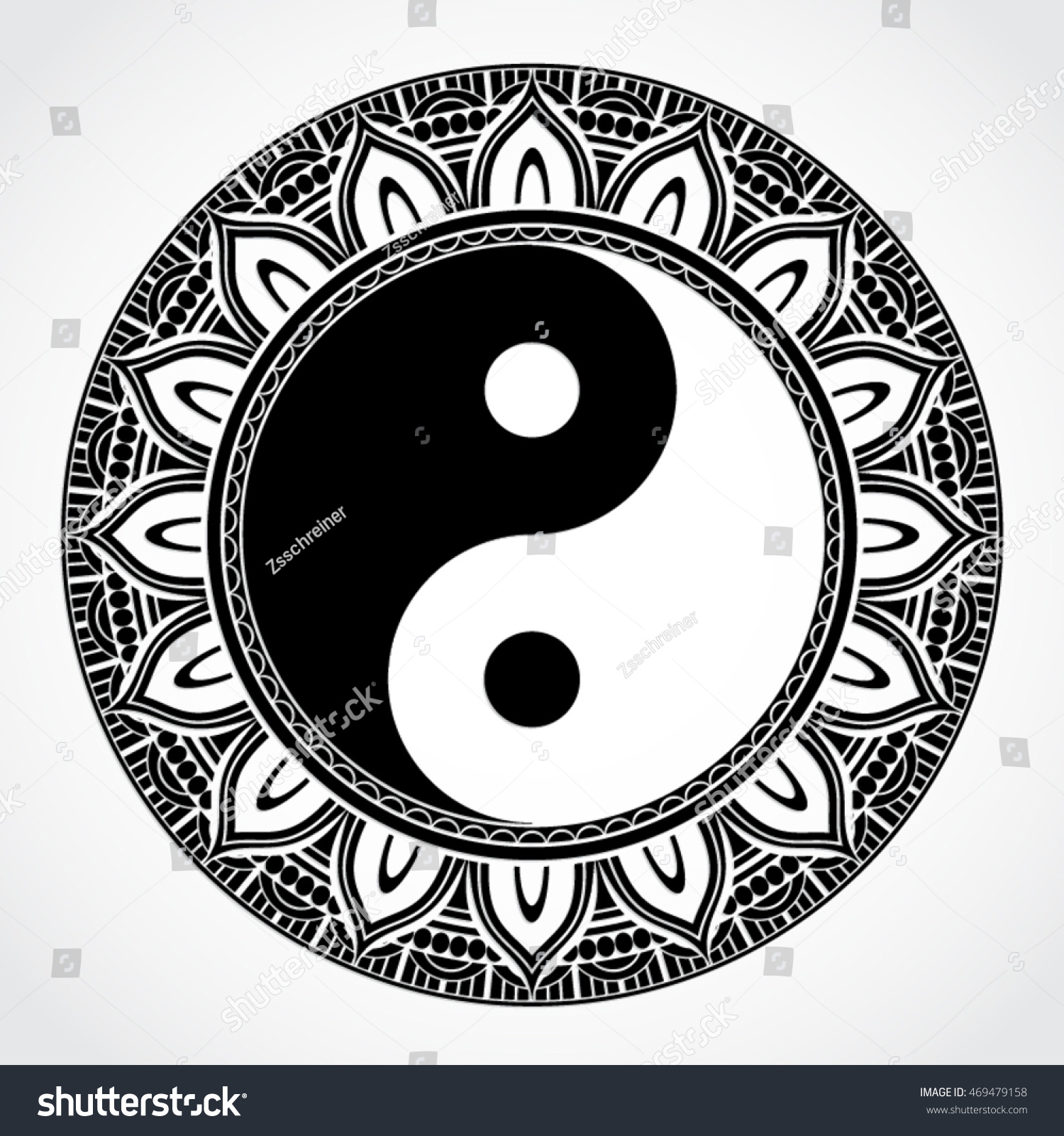 Yin Yang Symbol Ornamental Mandala Circle Stock Vector Royalty Free