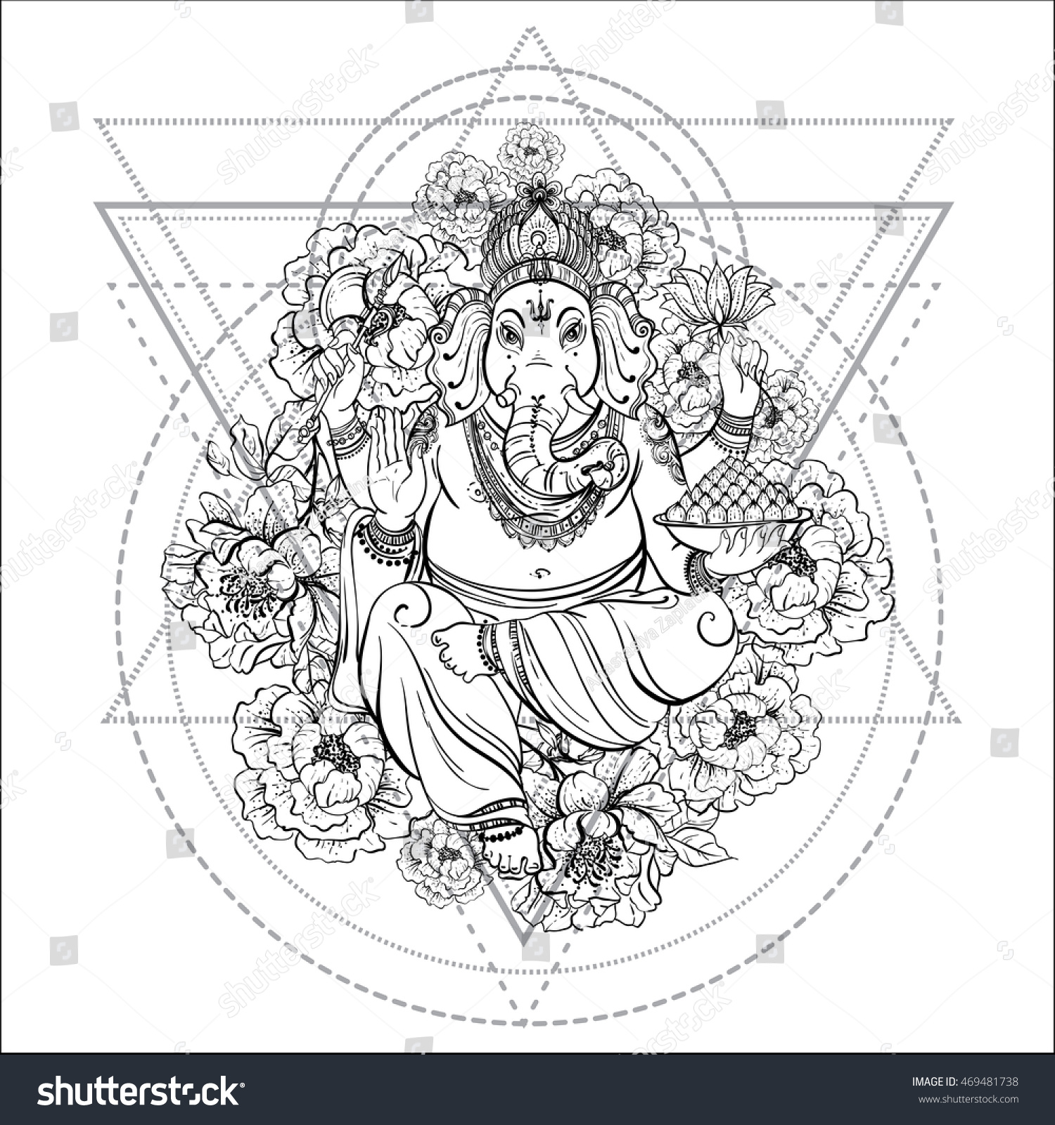 sitting lord ganesha with peony flower isolated on white sacred geometry vintage decorative composition - Sacred Geometry Coloring Book