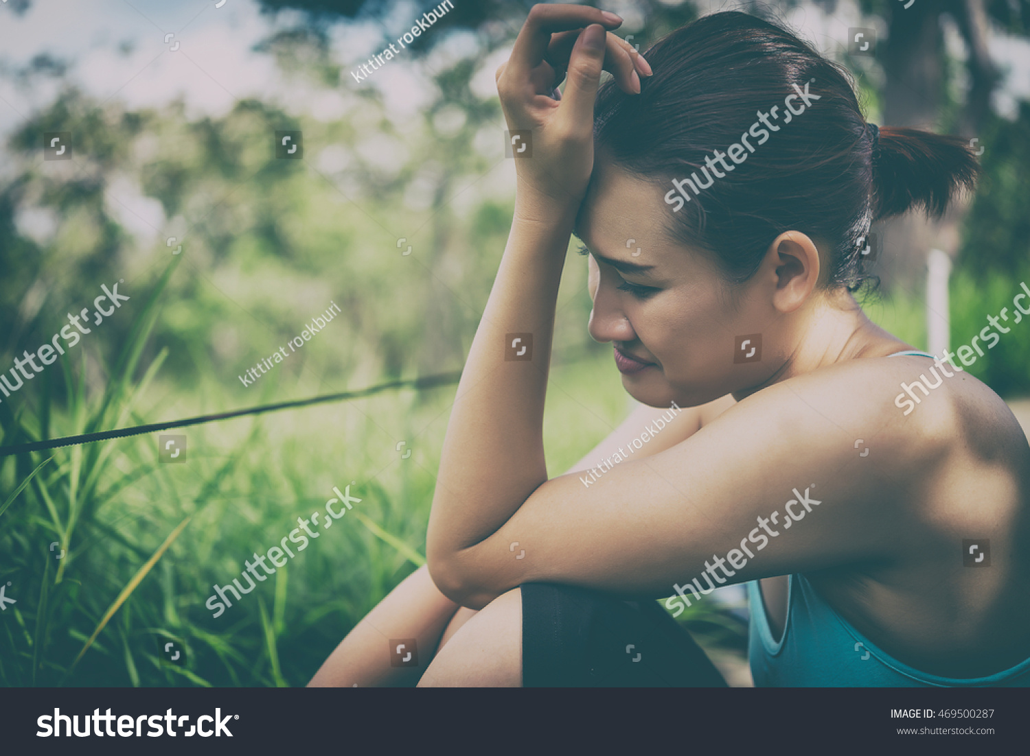 Sad Woman Use Head Touch Hand Stock Photo 469500287 - Shutterstock