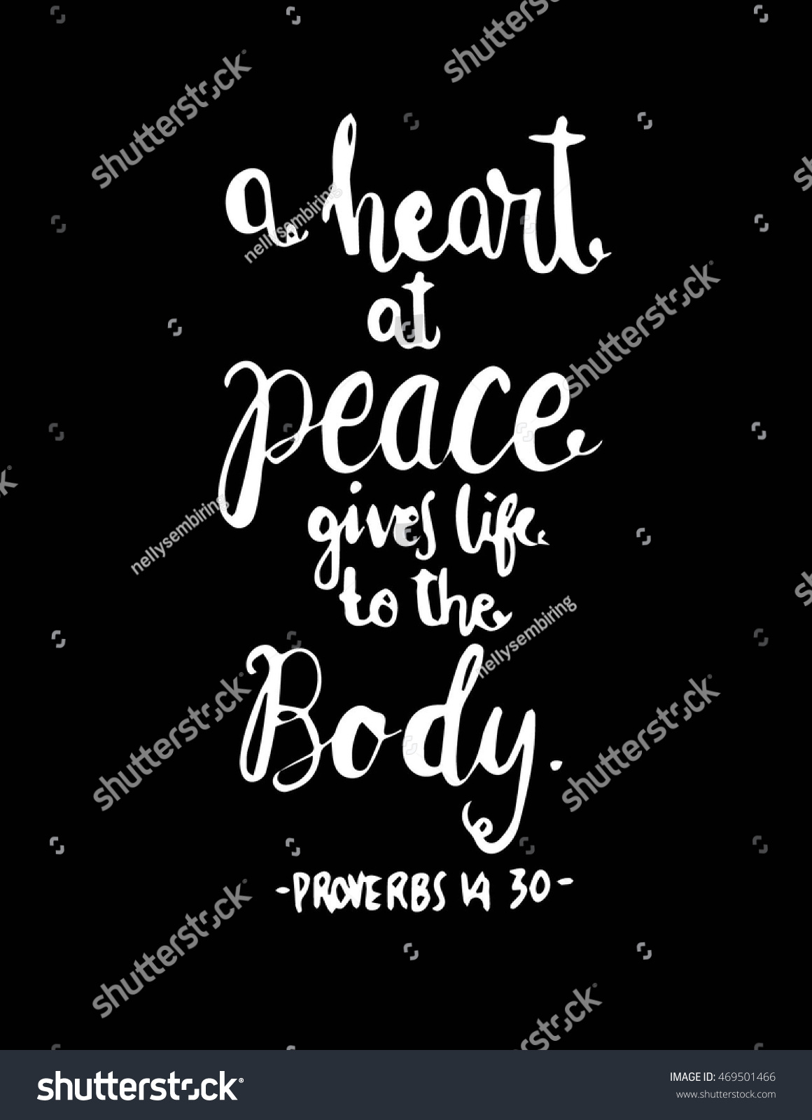 Bible Quotes About Peace Heart Peace Gives Life Body Hand Stock Vector 469501466  Shutterstock
