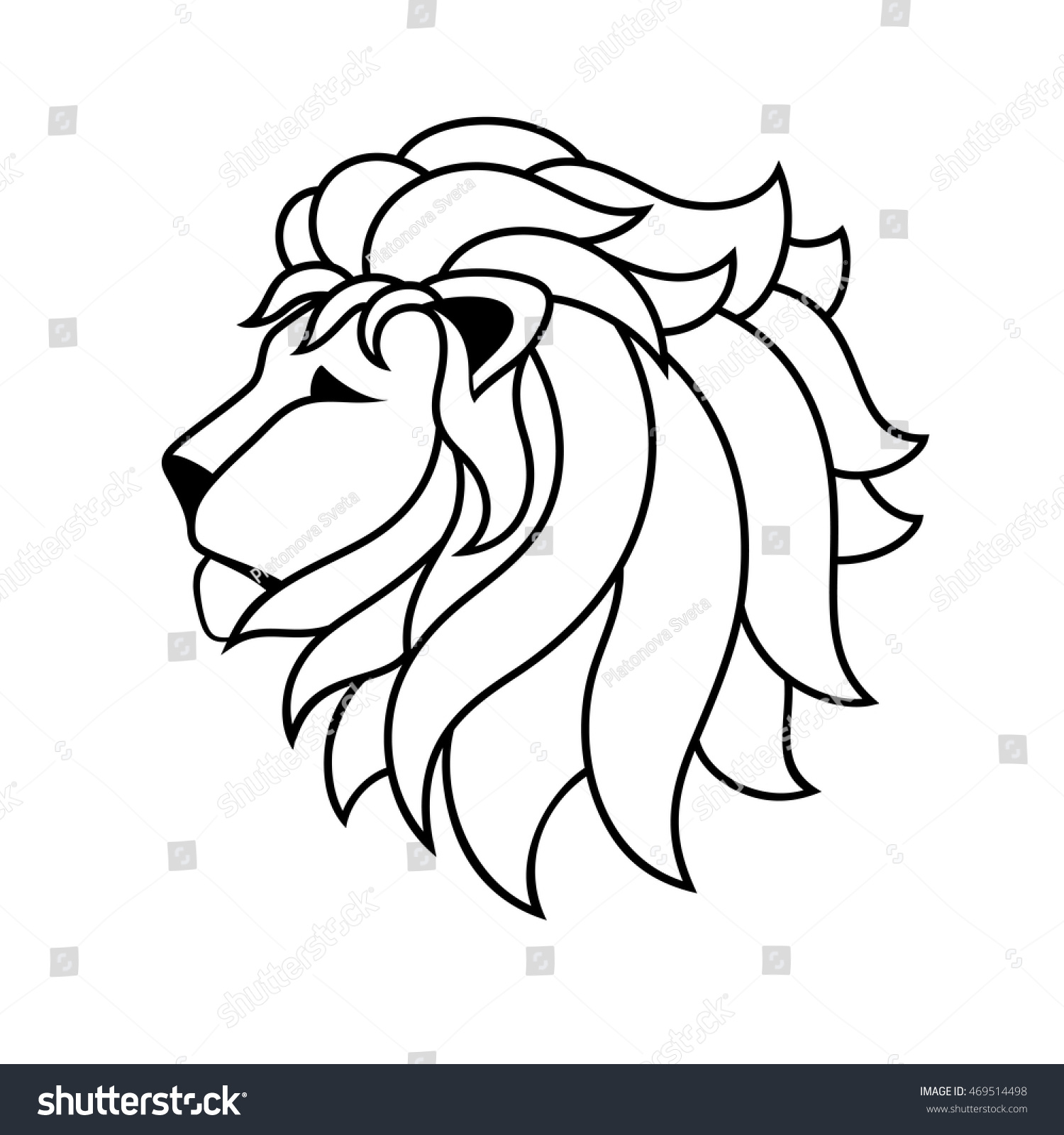 lion line drawing template tshirts coloring stock vector royalty