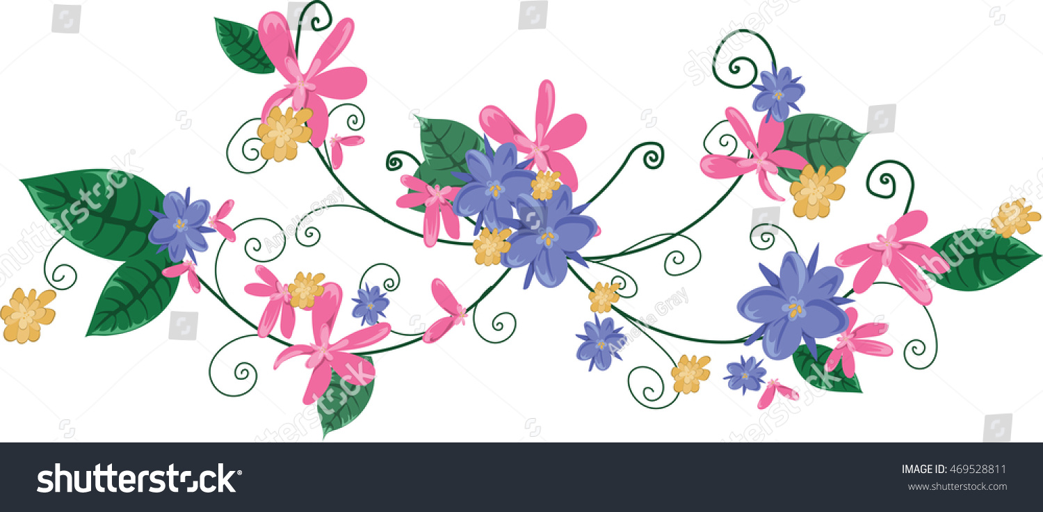 Floral vine purple pink yellow flowers stock vector royalty free floral vine purple pink and yellow flowers of varying sizes on a green swirling mightylinksfo