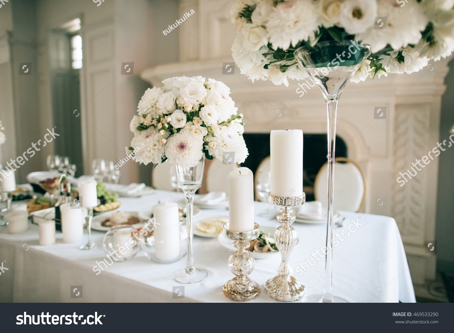 Table Decor White Flowers Candles Event Stock Photo Edit Now