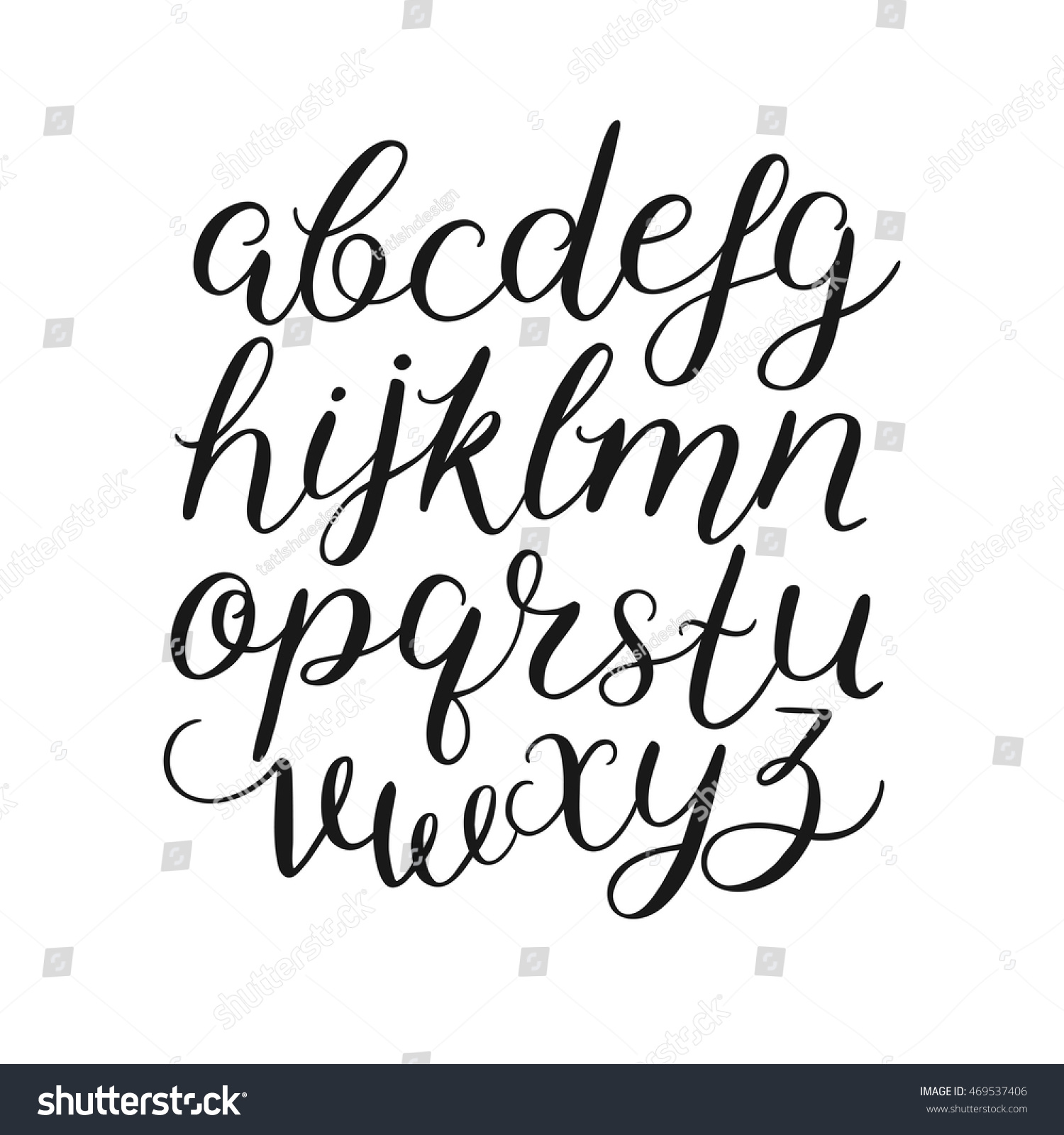 Vector handwritten brush script calligraphy alphabet stock