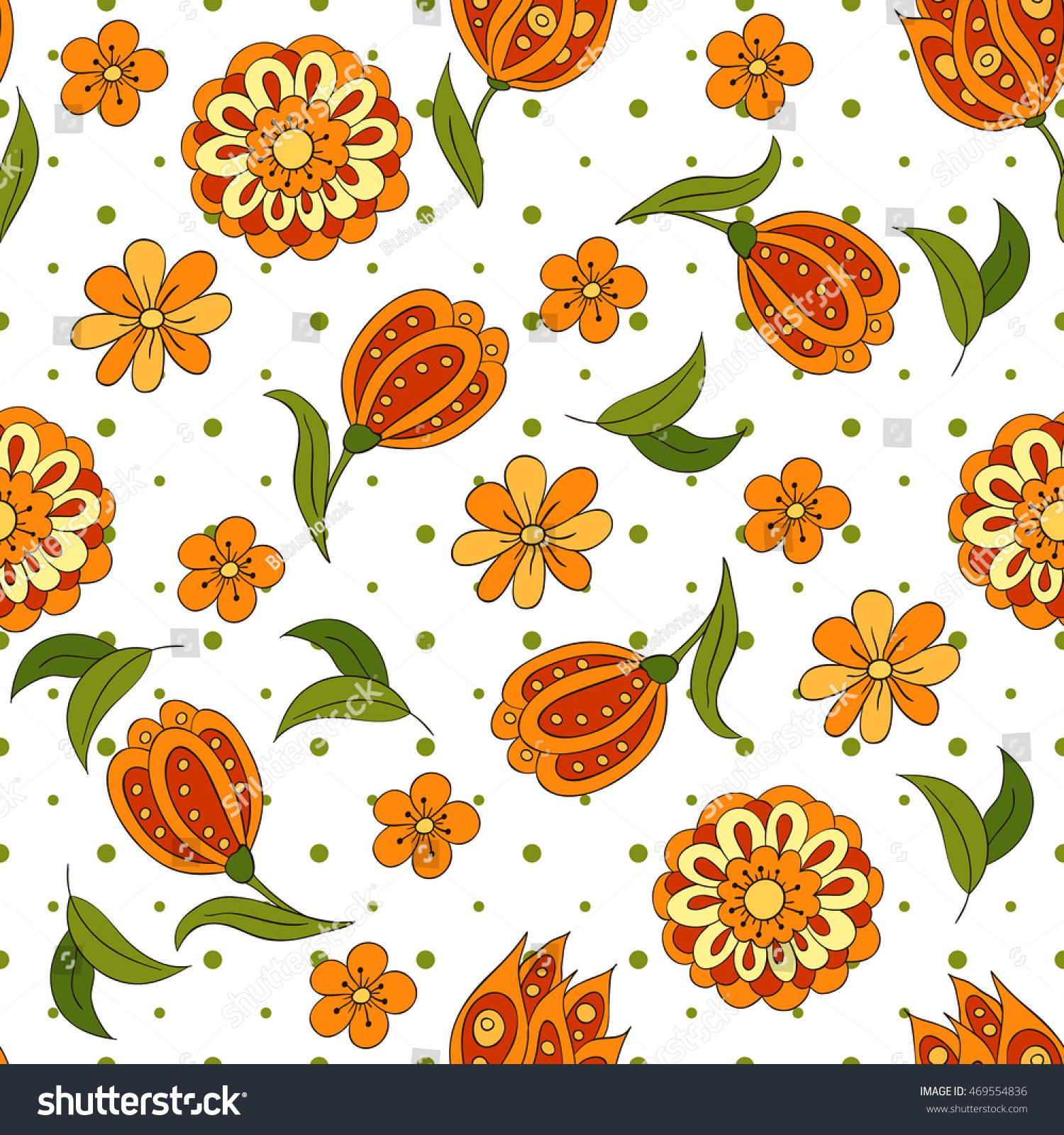 Seamless pattern spring flowers cover background stock vector 2018 seamless pattern with spring flowers cover background orange and green colors spots mightylinksfo