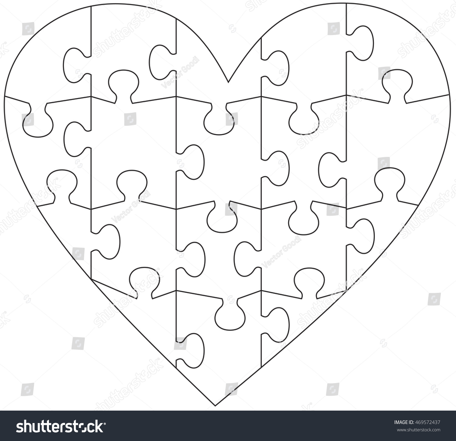 heart jigsaw puzzle template stock vector royalty free 469572437