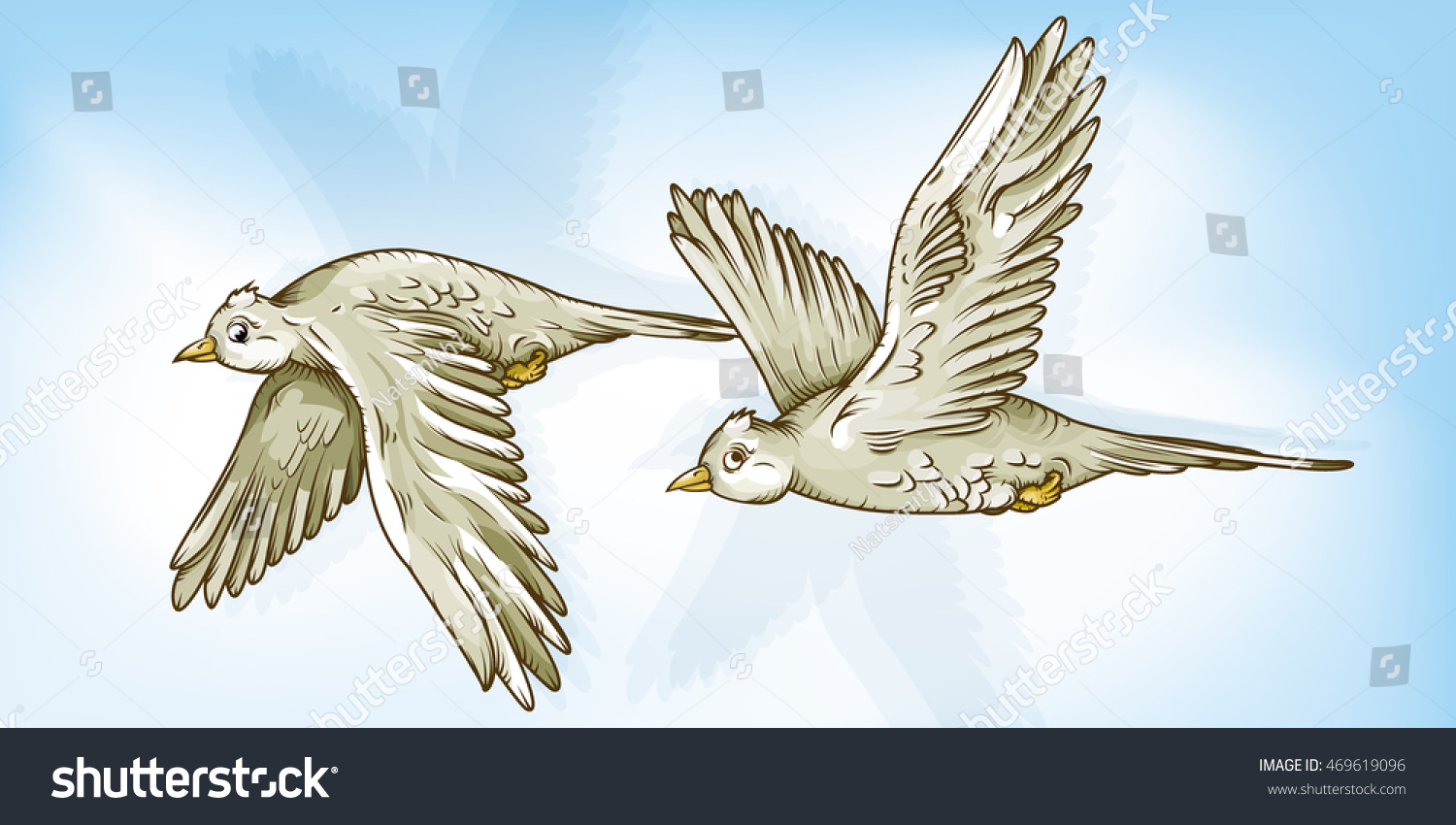 vector drawing two flying birds easy stock vector 469619096