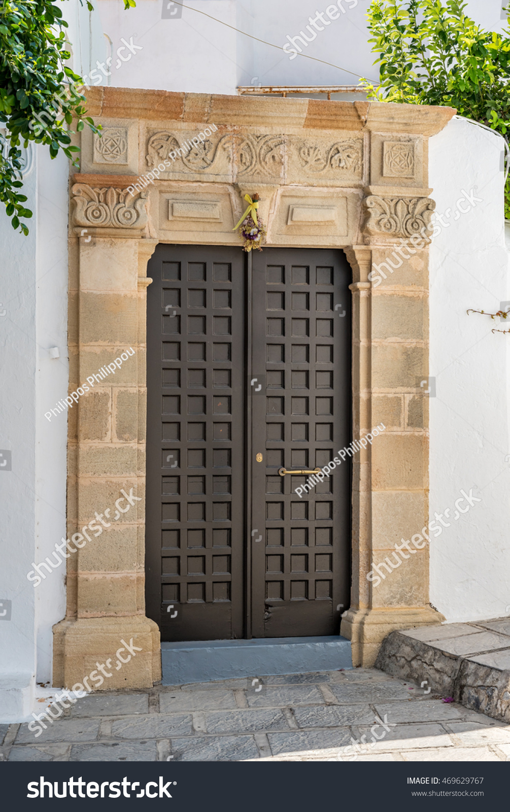Traditional Front Door Lindos Village Rhodes Stock Photo Royalty