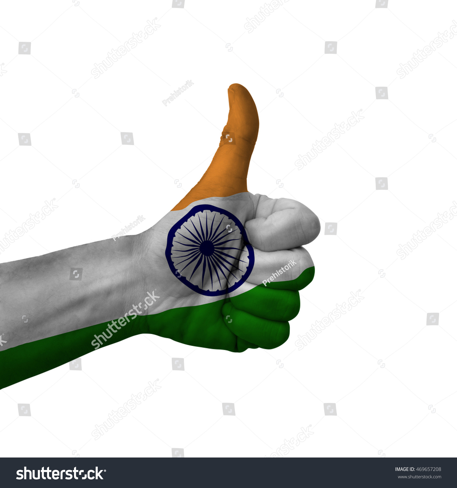 Royalty Free Hand Making Thumbs Up Sign India 469657208 Stock