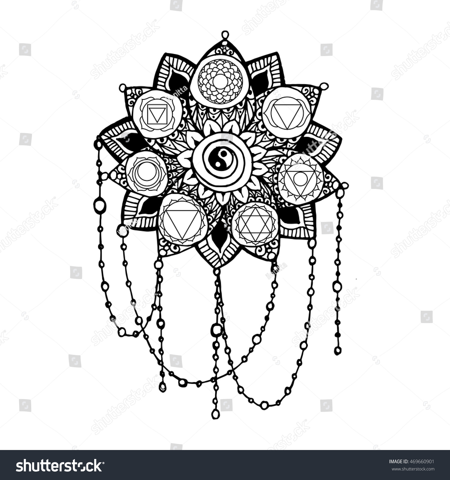 doodle style monochrome black line art stock vector 469660901