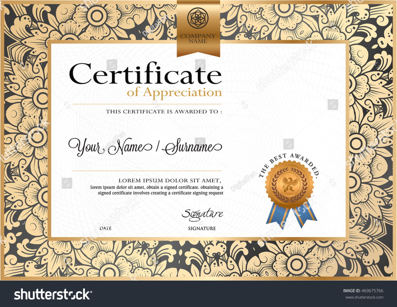 Certificate Vector Luxury Template Certificate Premium Stock Vector