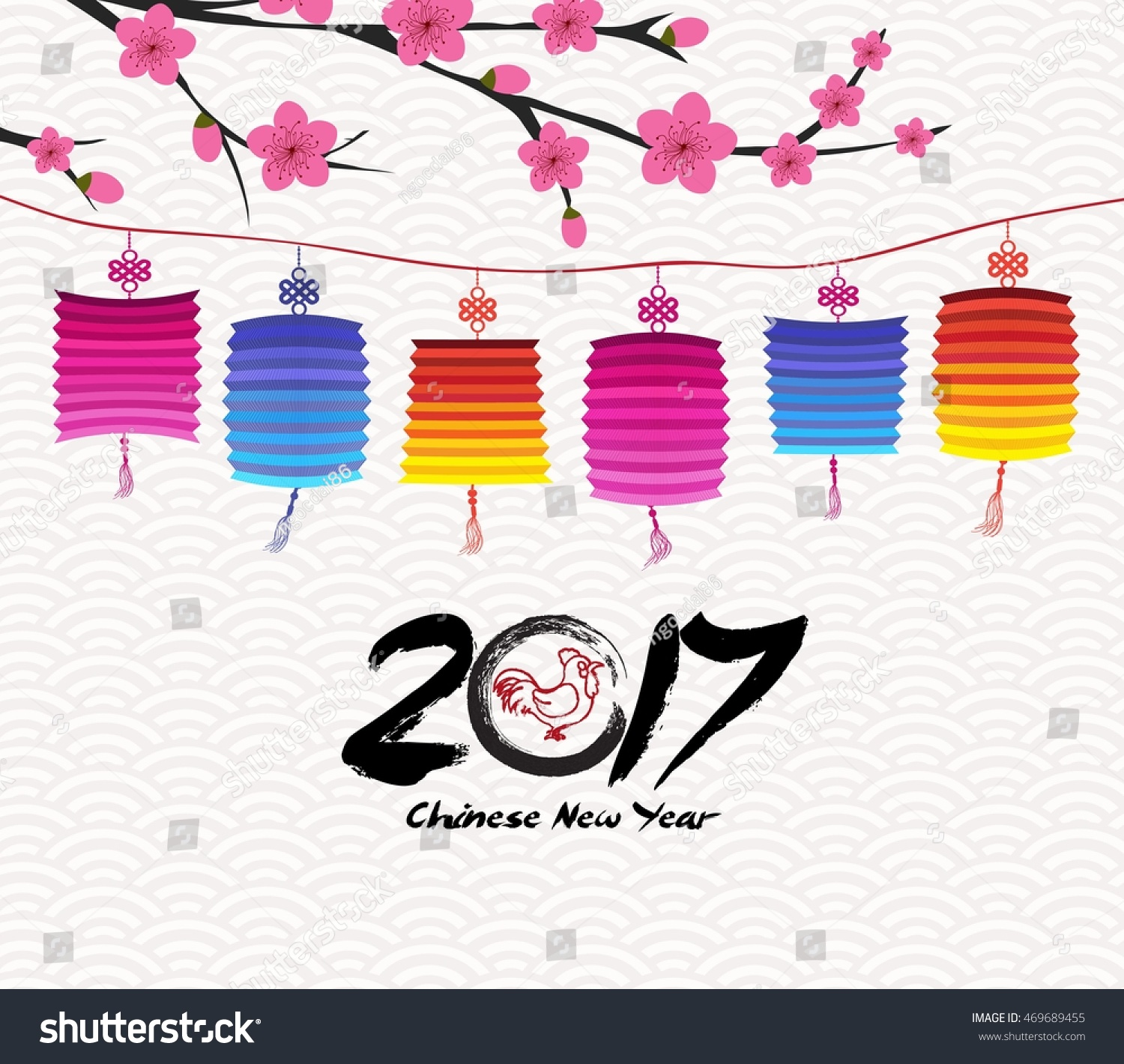 blossom chinese new year lantern and background