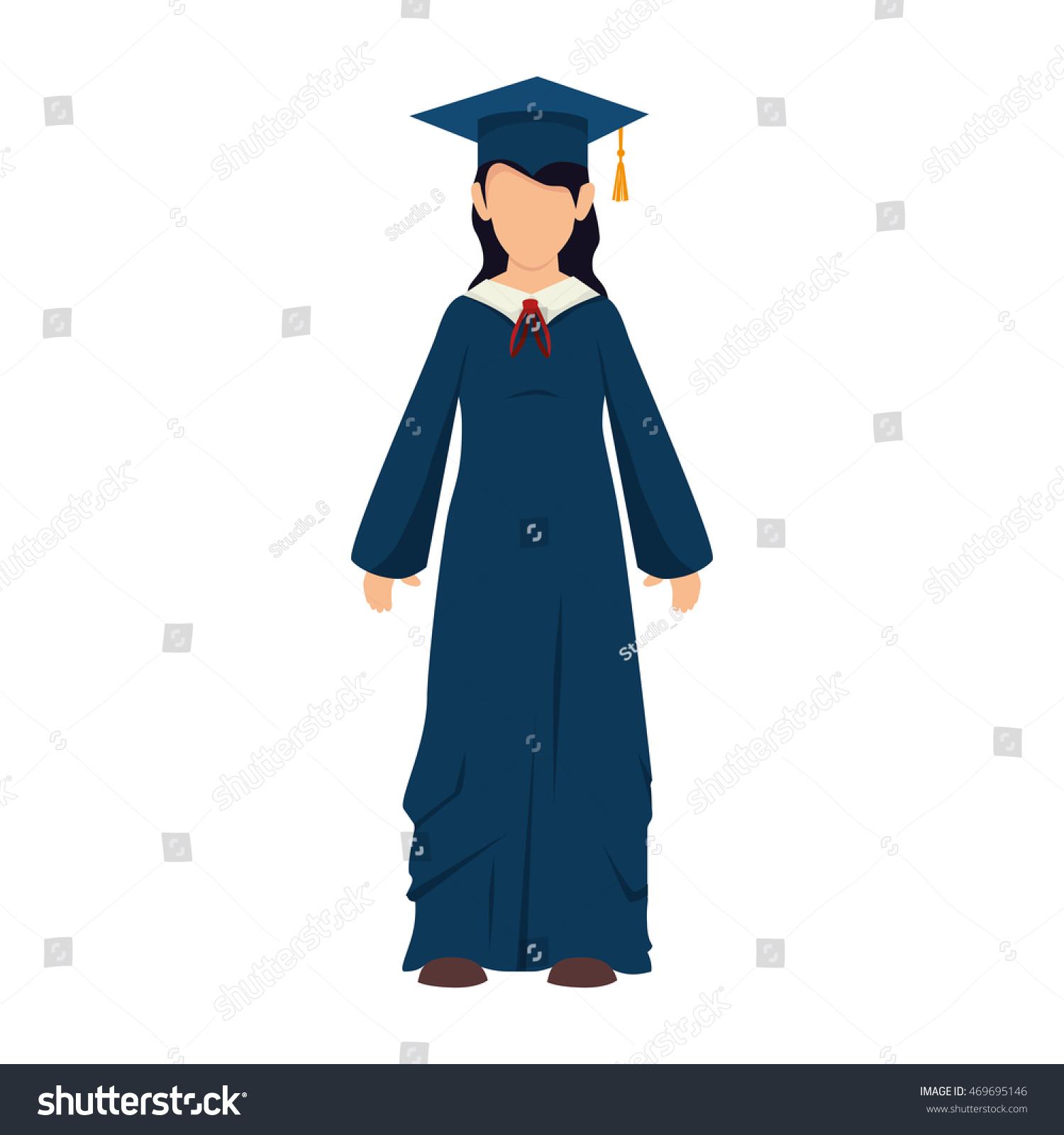 Women Girl Hat Graduate Graduation Gown Stock Vector (Royalty Free ...