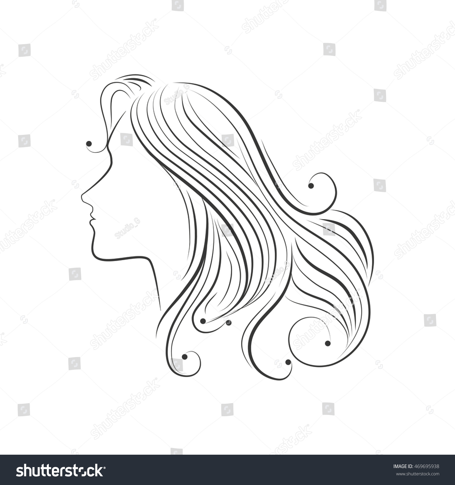Hair sketch female side girl lady face woman beauty vector illustration isolated