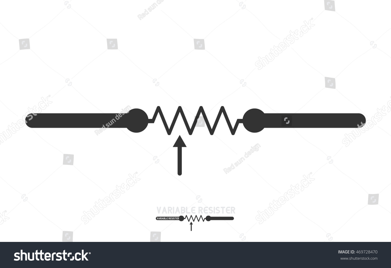 Potentiometer Adjustable Resistor Electronic Circuit Symbols Stock Vector