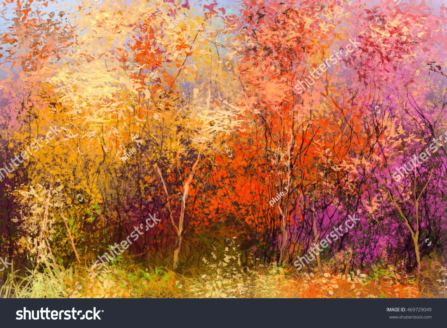 Oil paintings of trees in autumn the for Autumn tree painting