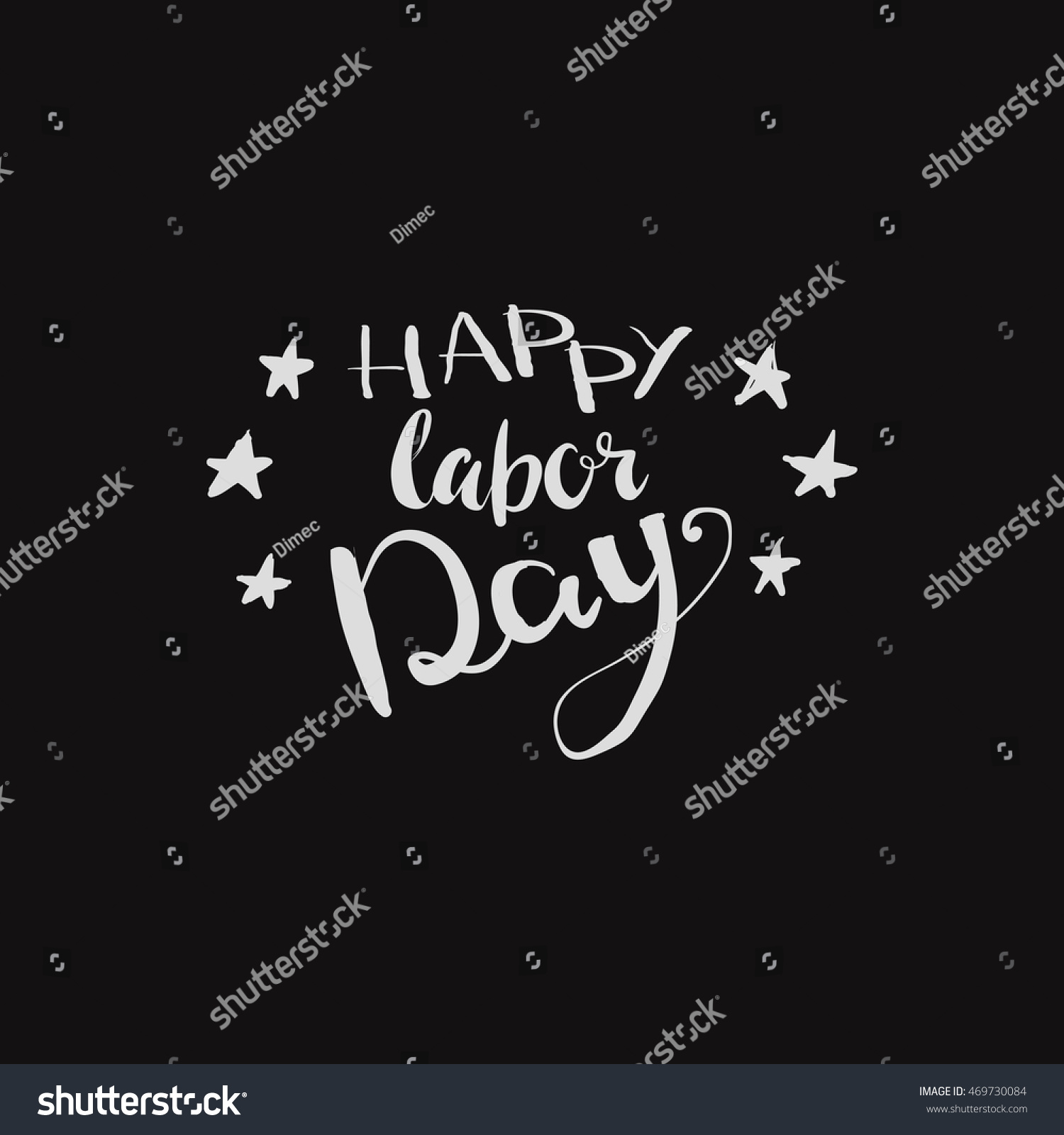 Happy Labor Day Inscription Greeting Card Stock Vector Royalty Free