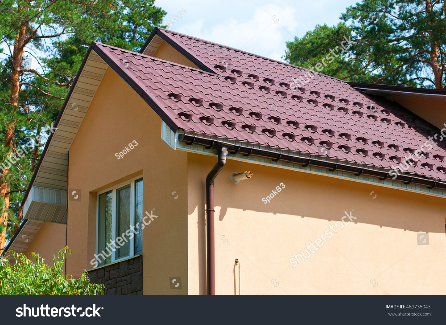 New Metal Roofing Construction Rain Gutter Stock Photo (Royalty Free ...