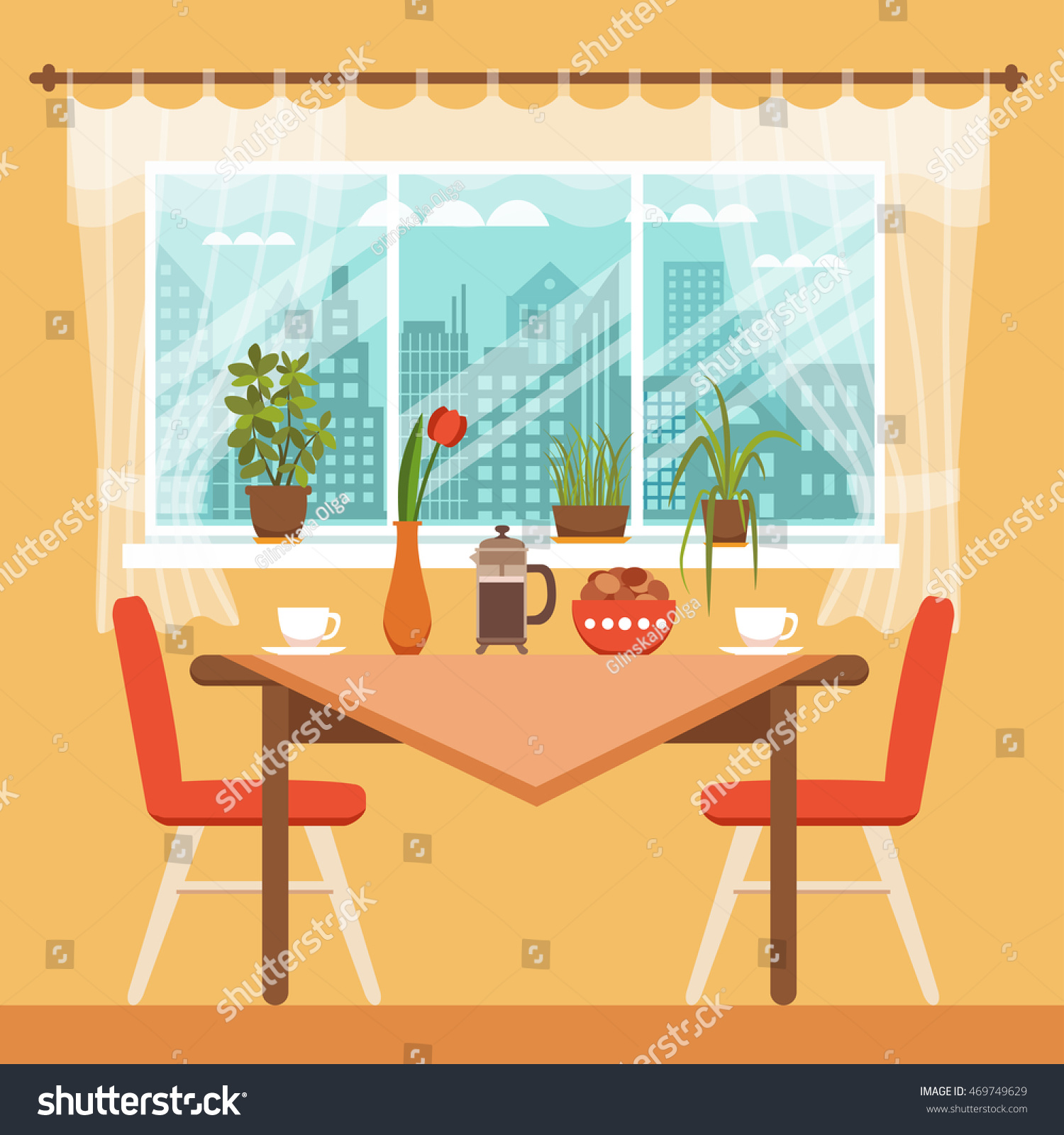 Cartoon kitchen with cabinets and window vector art illustration - Dining Table With Chairs And Coffee Cups Near Window Curtains And House Plants Colorful Vector Illustration