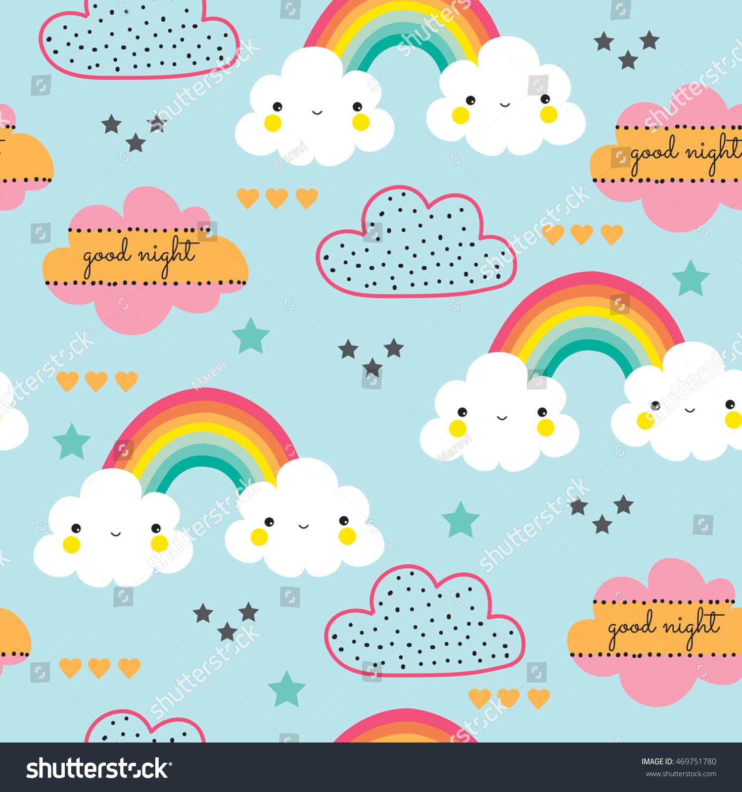 Seamless Colorful Rainbow Cloud Illustration Background Vector De