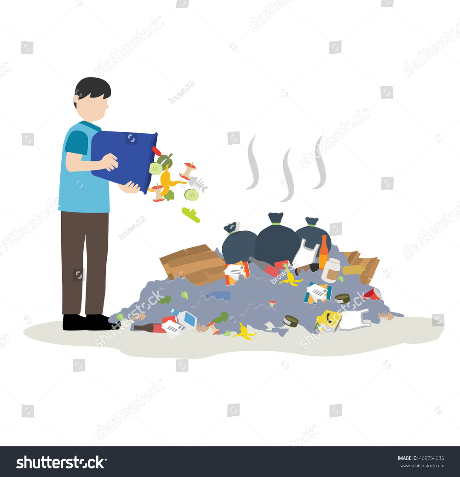 Man Throw Trash Into Pile Garbage Stock Vector 469754636 ...