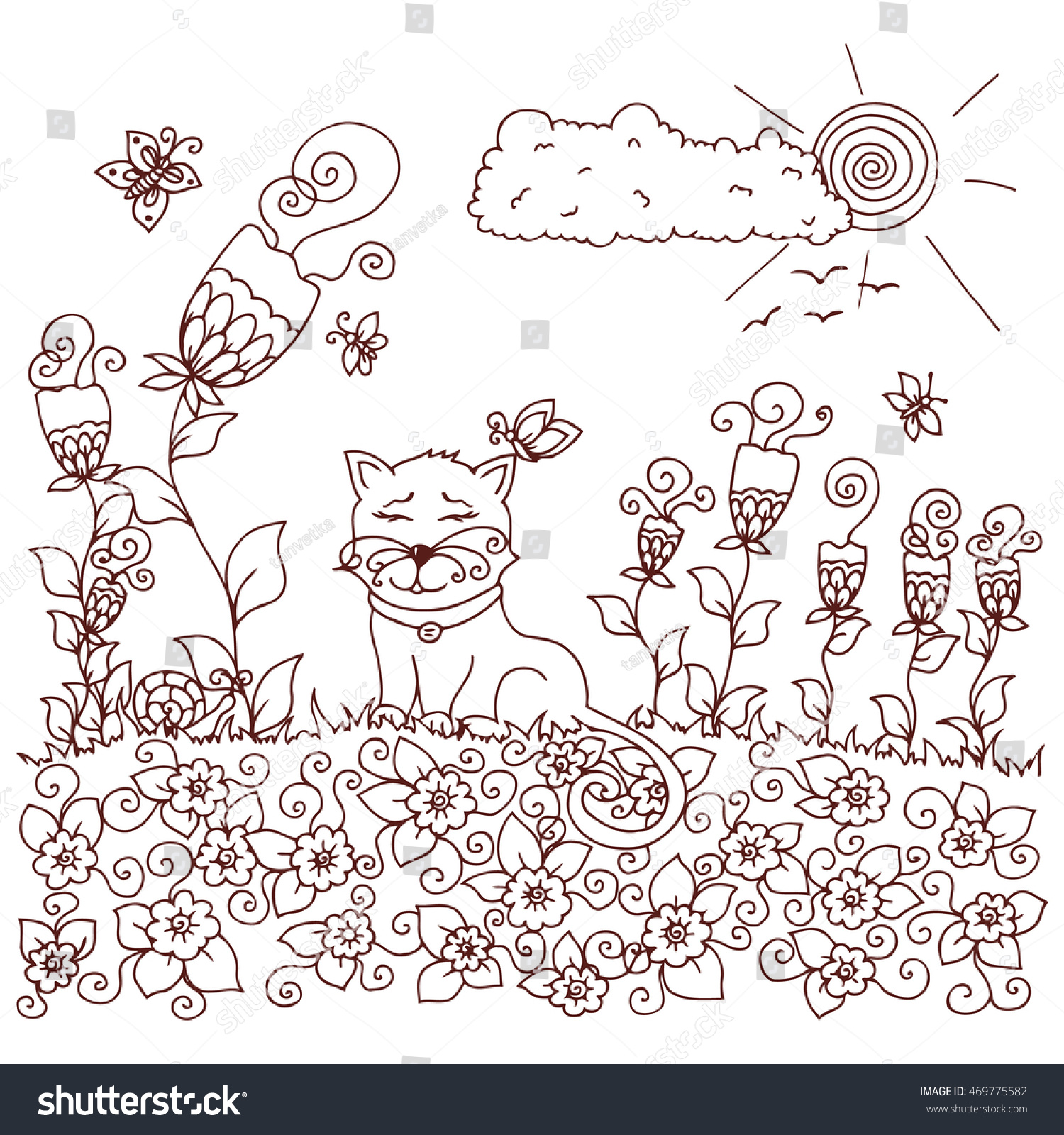 Vector Illustration Zen Tangd Cat Sitting In The Flowers Doodle Drawing Coloring Book
