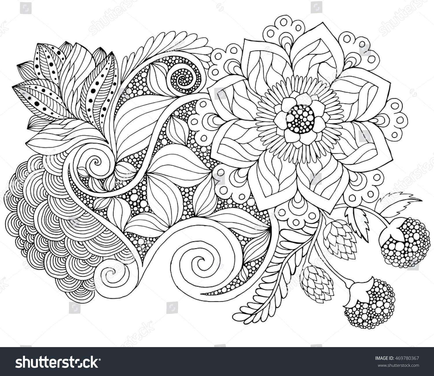 Fantasy Flowers Coloring Page Hand Drawn Stock Vector 469780367