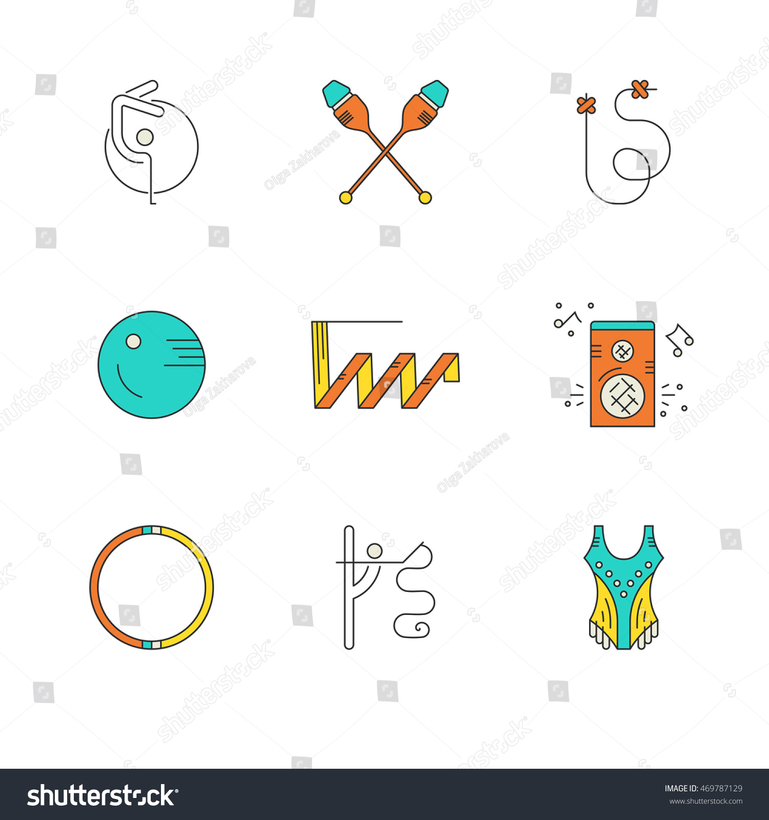 Icon Collection Different Rhythmic Gymnastics Objects Stock Vector